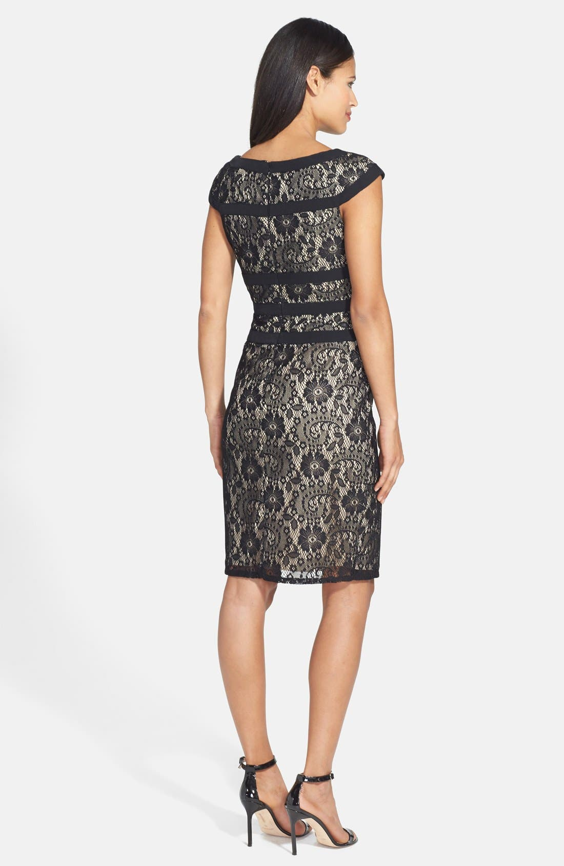 ADRIANNA PAPELL, Lace Sheath Dress, Alternate thumbnail 5, color, 001