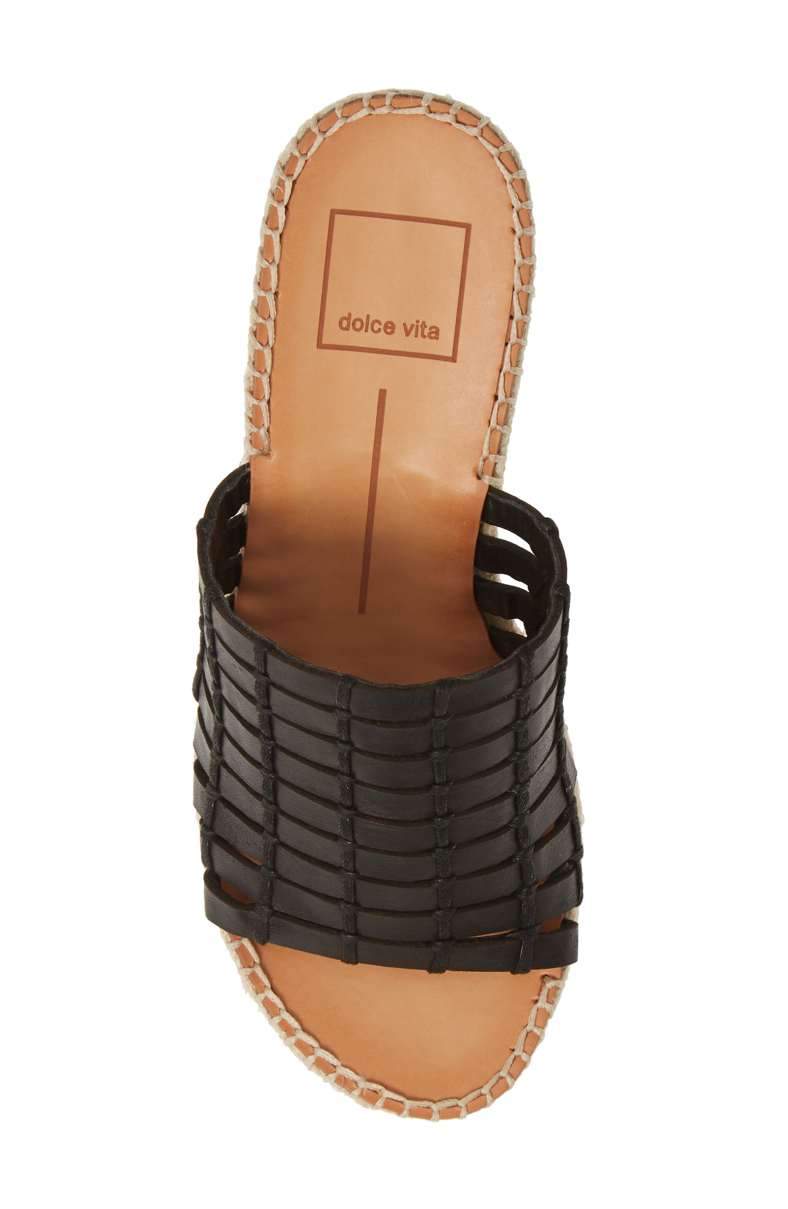 DOLCE VITA, Prue Espadrille Wedge Slide Sandal, Alternate thumbnail 5, color, BLACK LEATHER