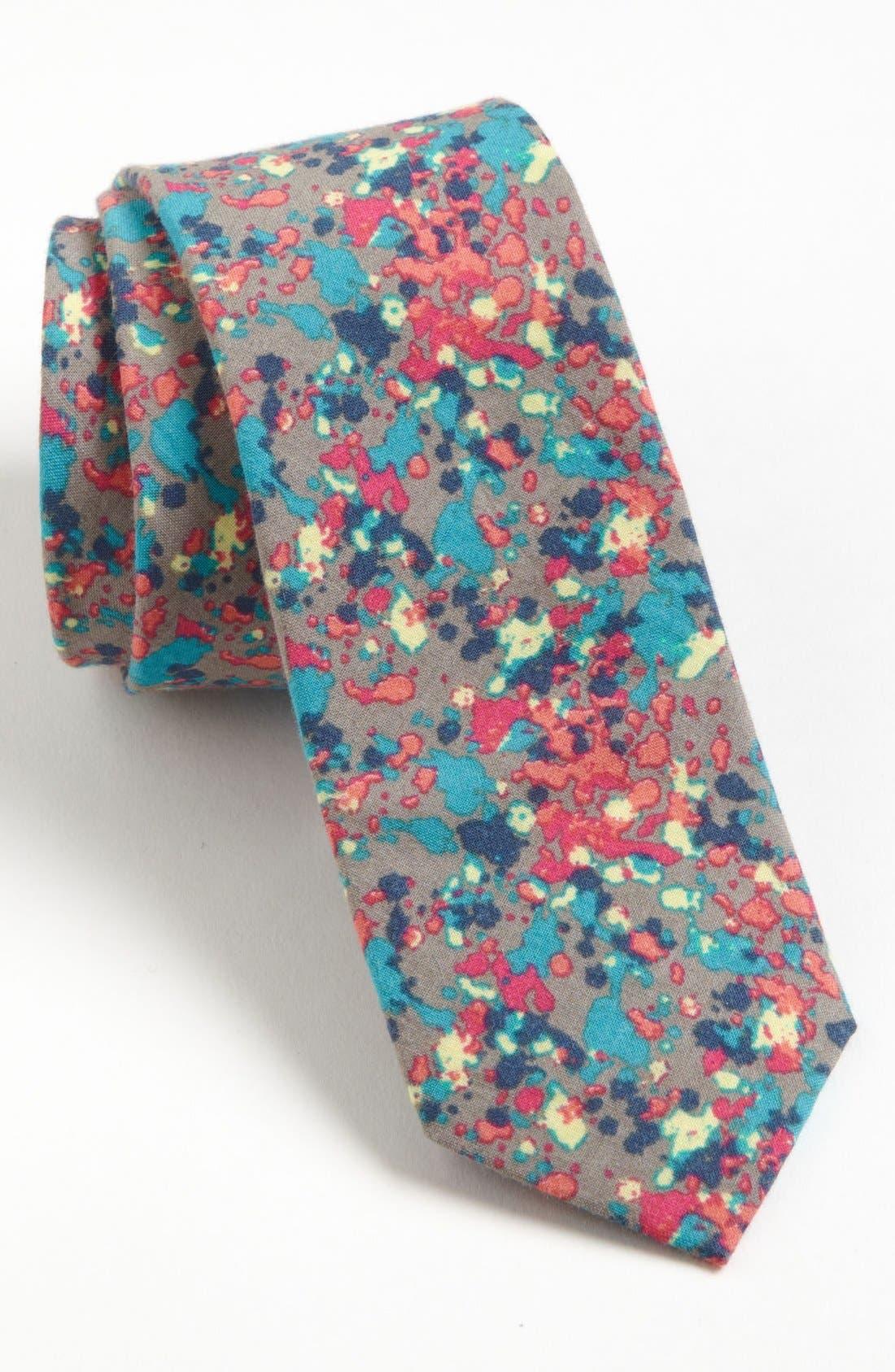 TOPMAN, Paint Splatter Print Woven Cotton Tie, Main thumbnail 1, color, 020