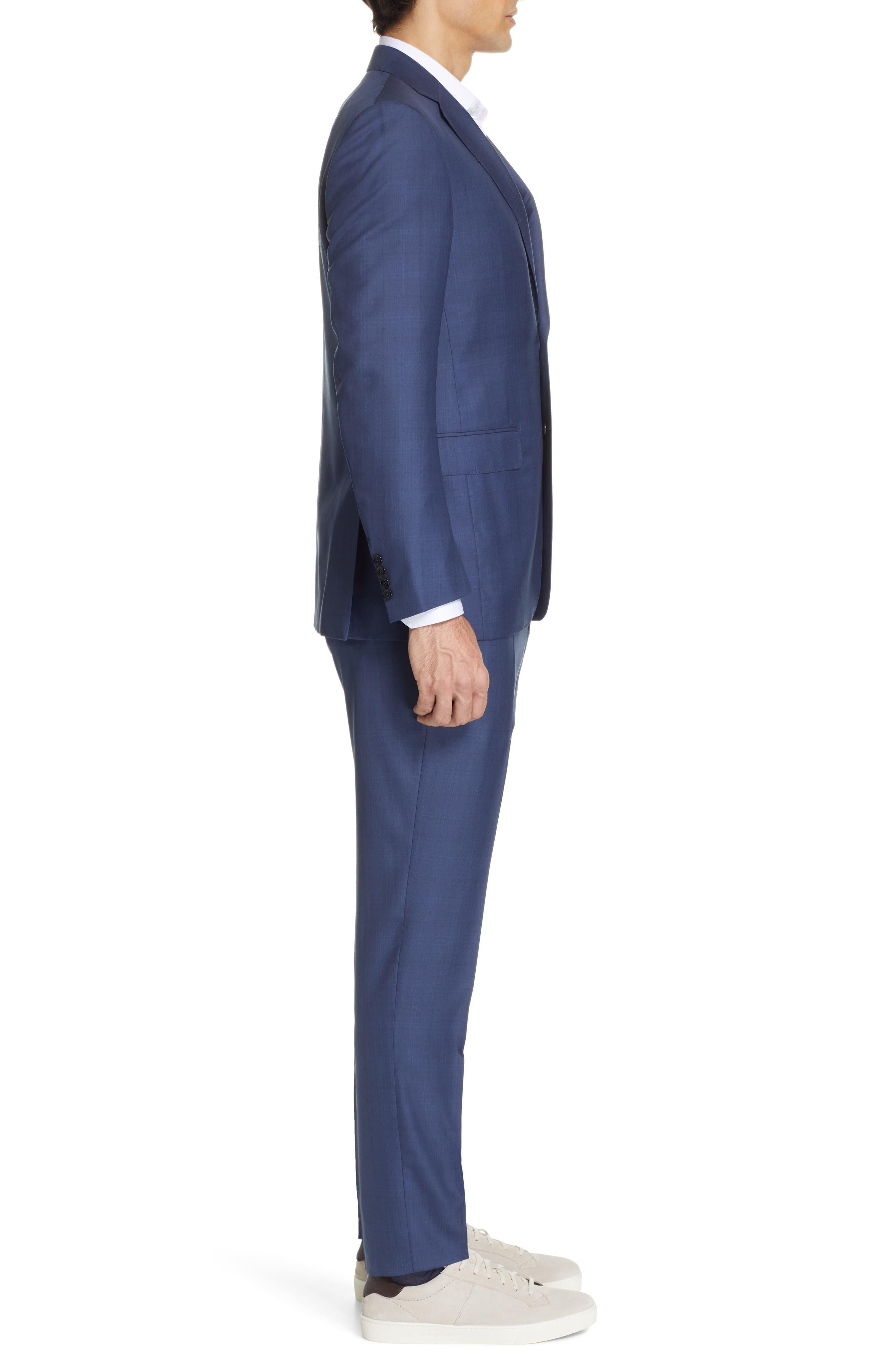 ERMENEGILDO ZEGNA, Trofeo Classic Fit Plaid Wool & Silk Suit, Alternate thumbnail 3, color, BLUE