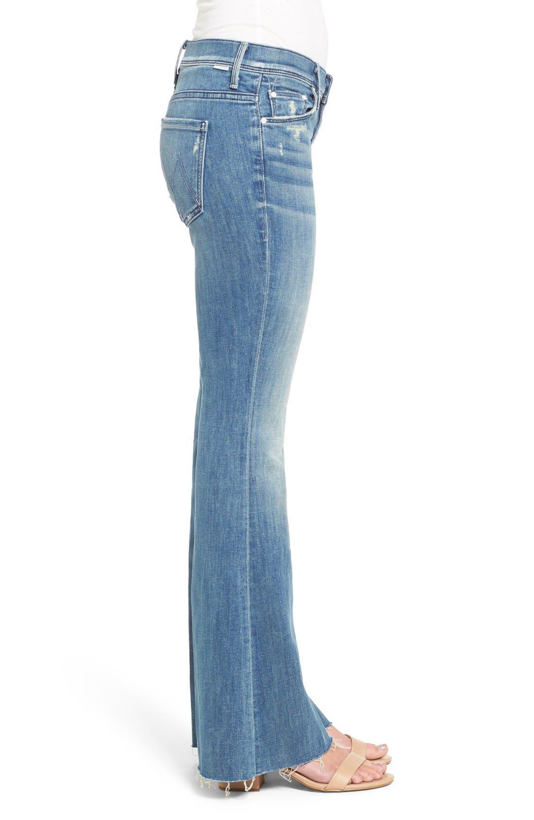 MOTHER, Raw Hem Flare Jeans, Alternate thumbnail 3, color, 420