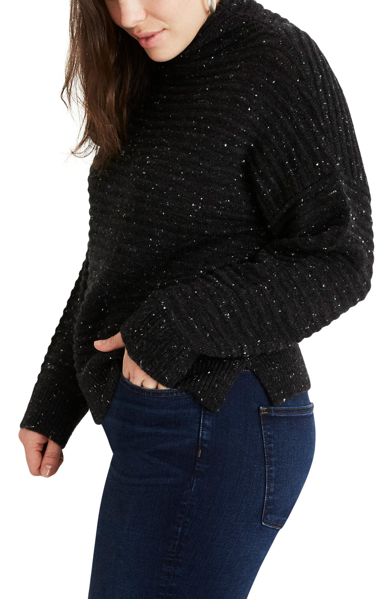 MADEWELL, Belmont Donegal Mock Neck Sweater, Alternate thumbnail 8, color, 020