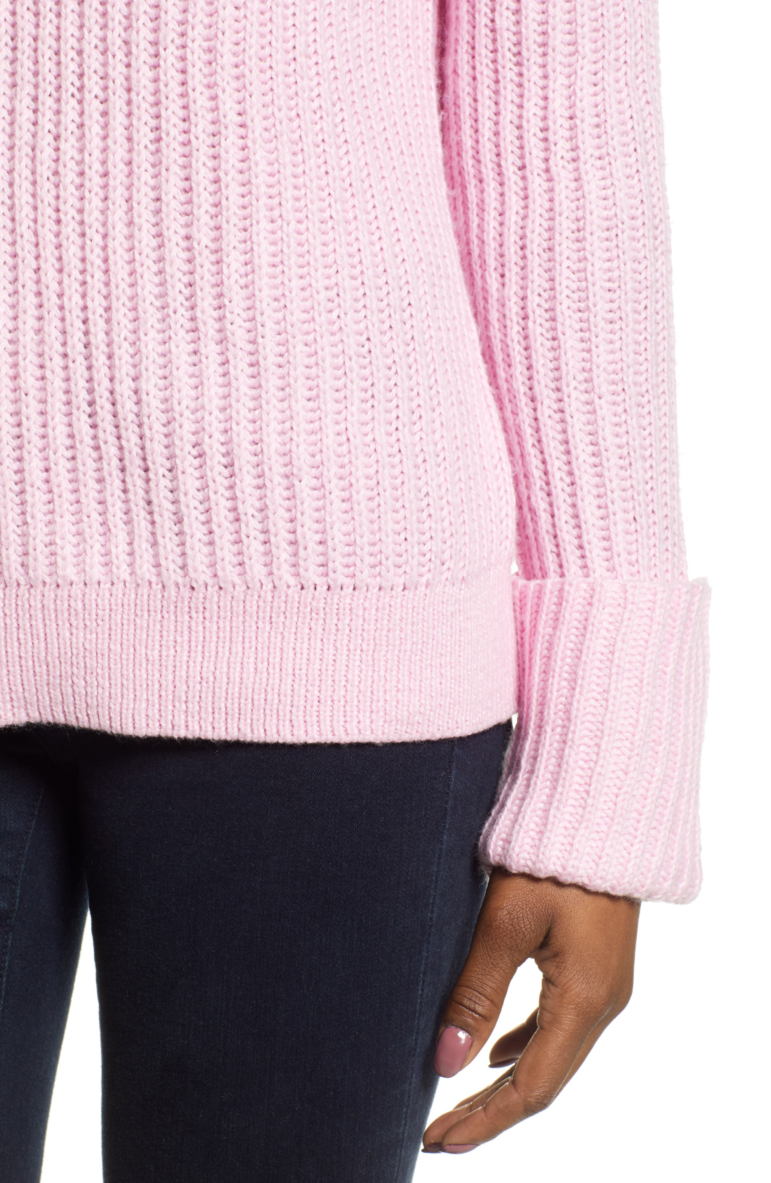 CASLON<SUP>®</SUP>, Cuffed Sleeve Shaker Sweater, Alternate thumbnail 4, color, PINK FLOWER