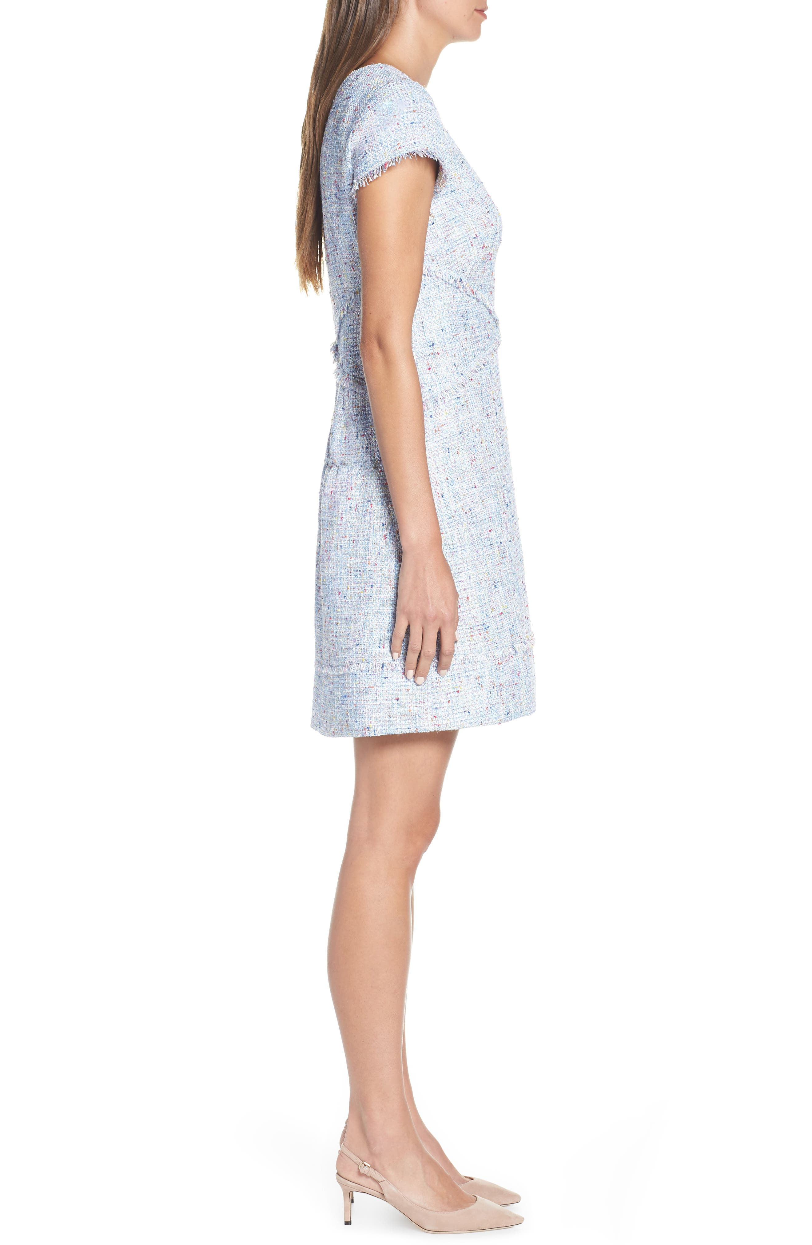 ELIZA J, Sheath Tweed Sheath Dress, Alternate thumbnail 4, color, BLUE