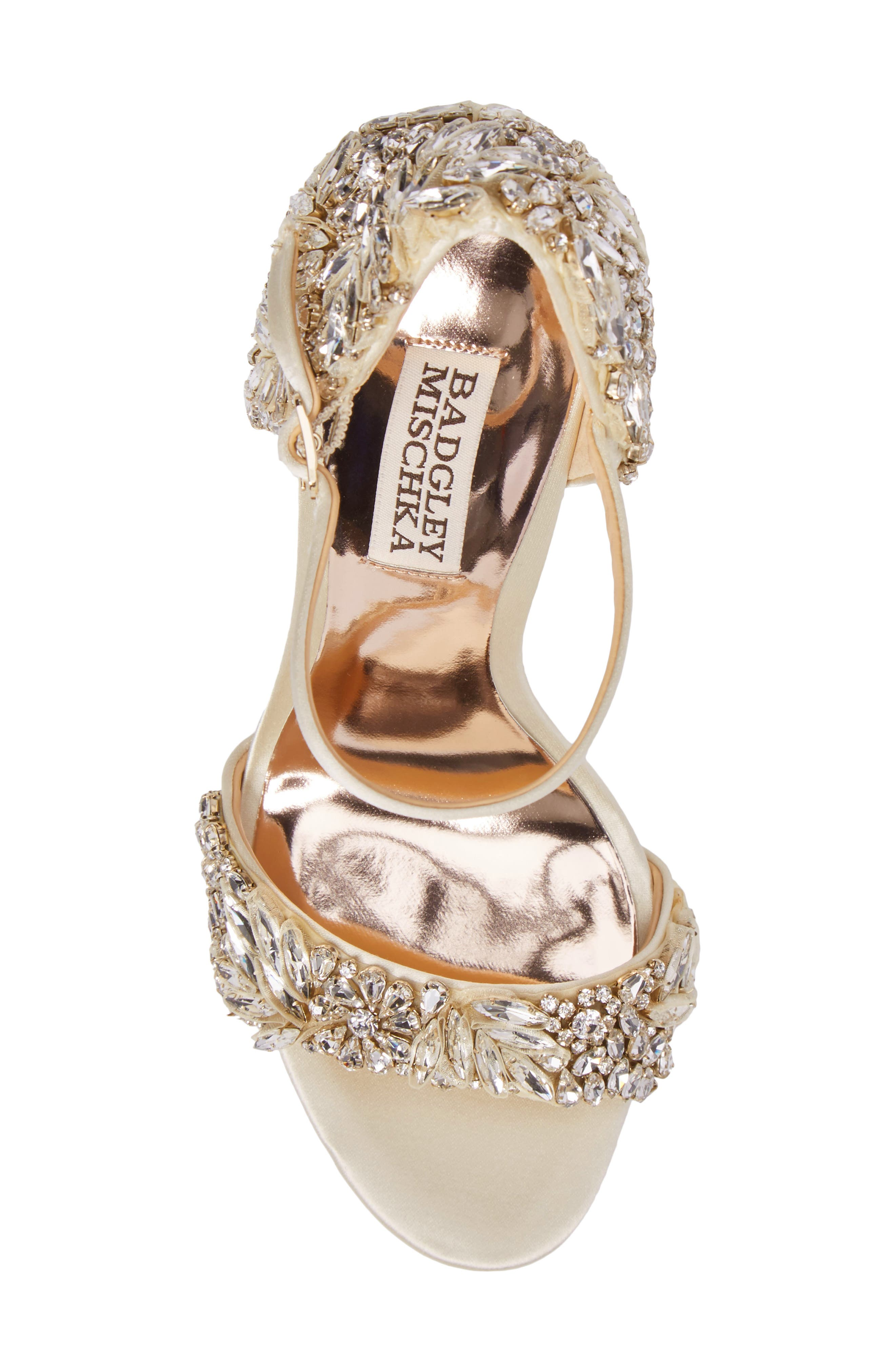 BADGLEY MISCHKA COLLECTION, Badgley Mischka Tampa Ankle Strap Sandal, Alternate thumbnail 5, color, IVORY SATIN