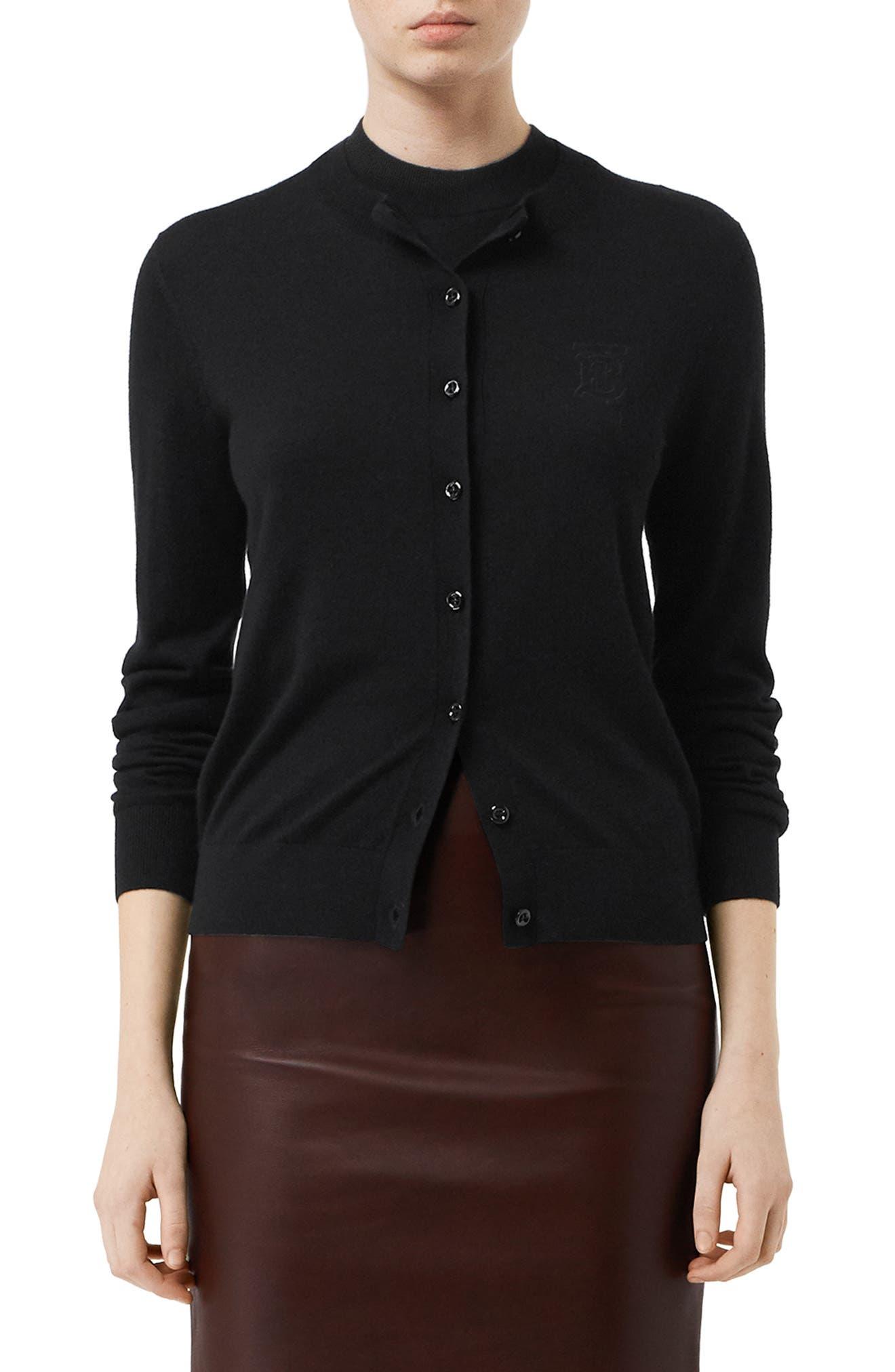 BURBERRY Monogram Logo Cashmere Cardigan, Main, color, BLACK