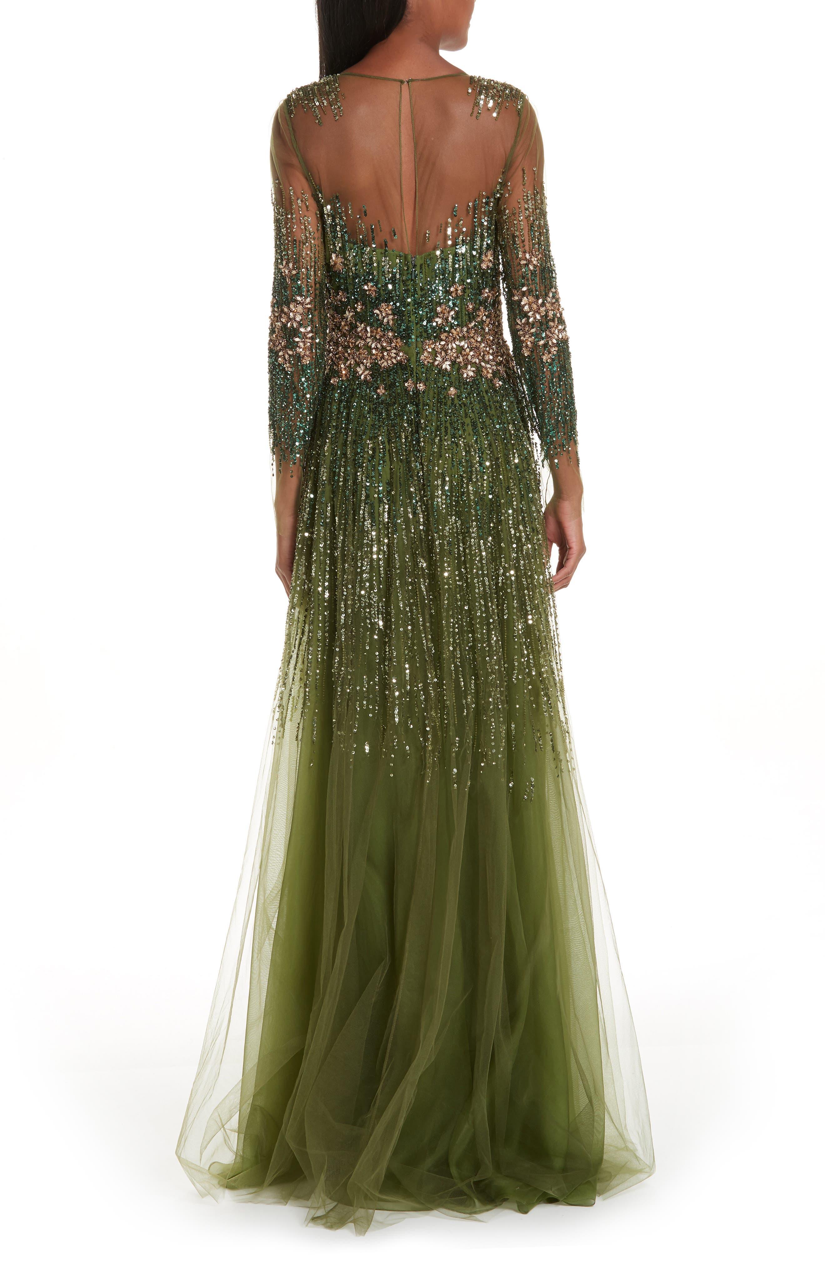 PAMELLA ROLAND, Crystal Embellished A-Line Gown, Alternate thumbnail 2, color, SAGE MULTI