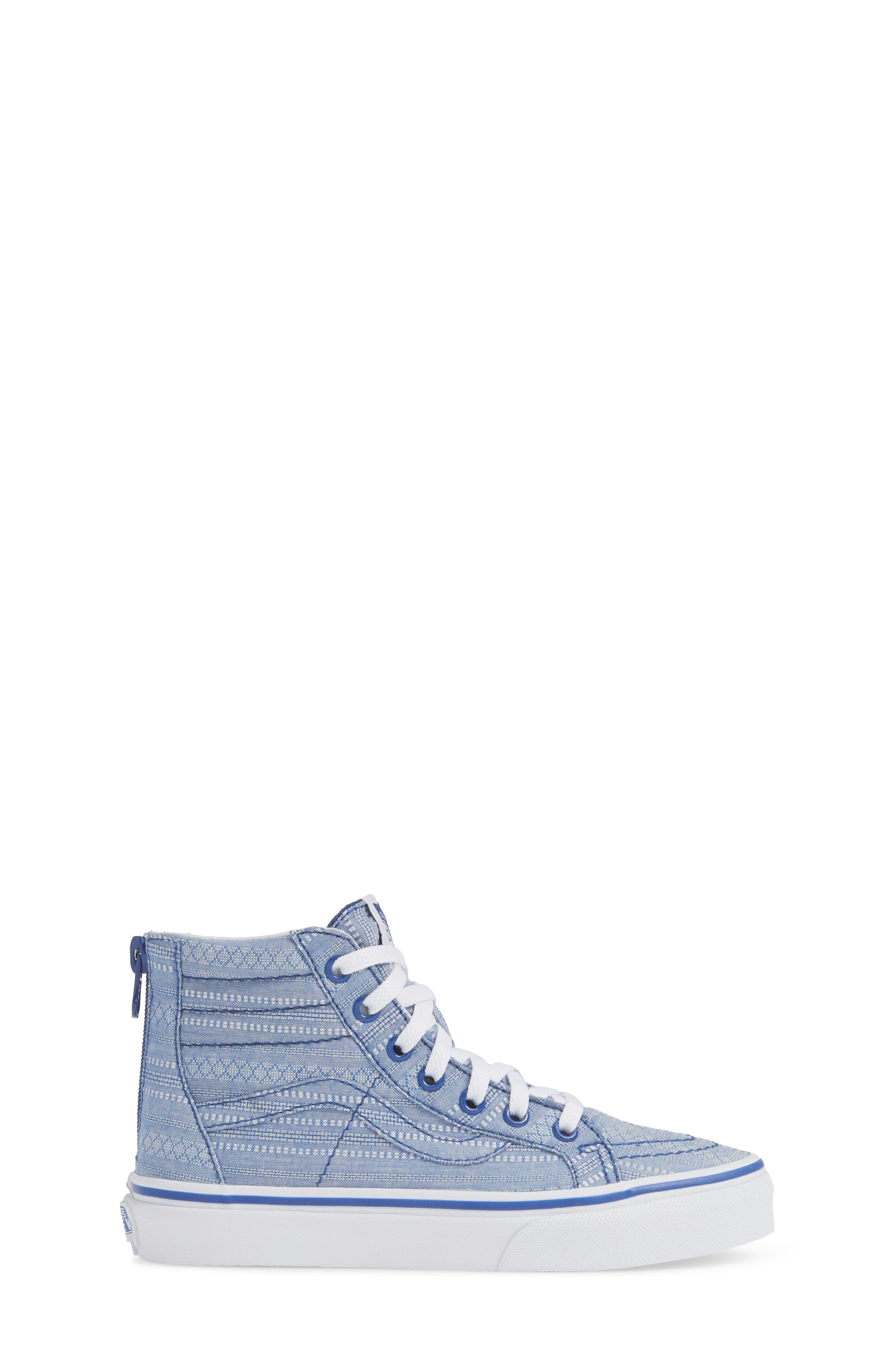 VANS, Sk8-Hi Zip Sneaker, Alternate thumbnail 3, color, TRUE BLUE/ TRUE WHITE