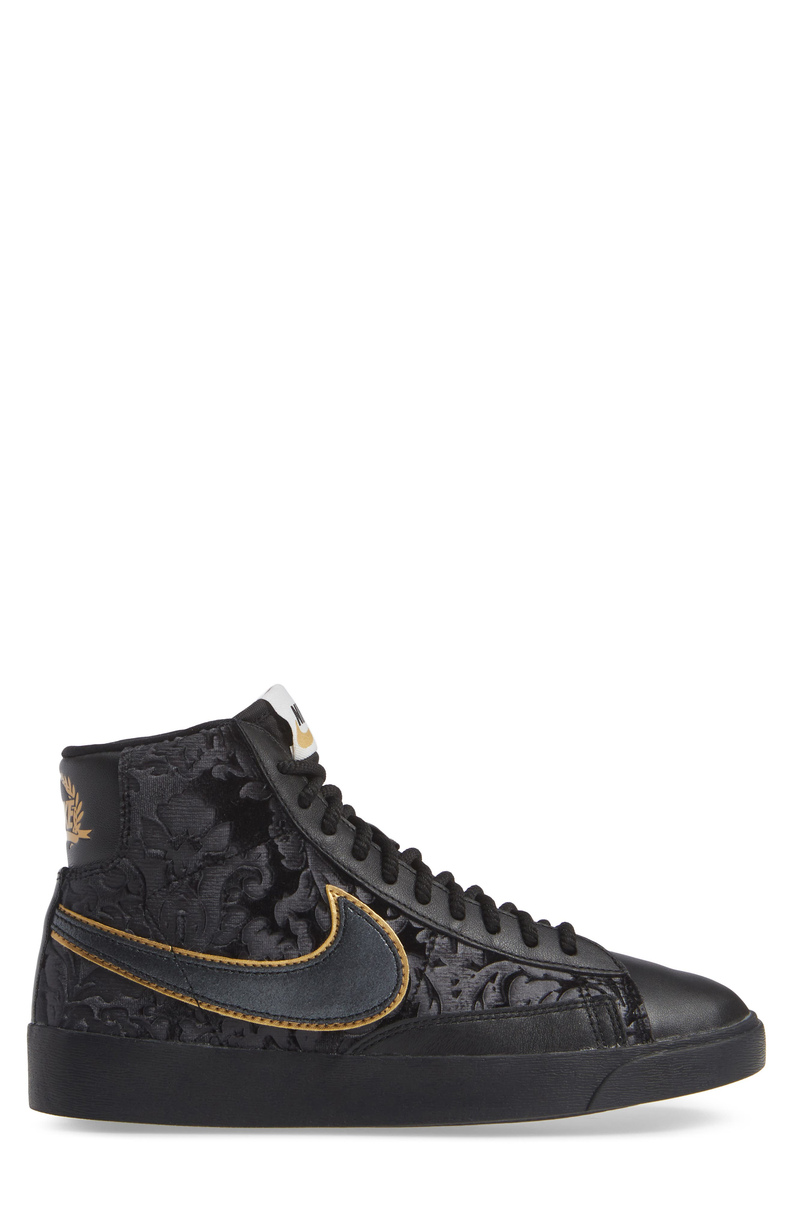 NIKE, Blazer Mid Top Sneaker, Alternate thumbnail 3, color, BLACK/ GOLD/ SUMMIT WHITE