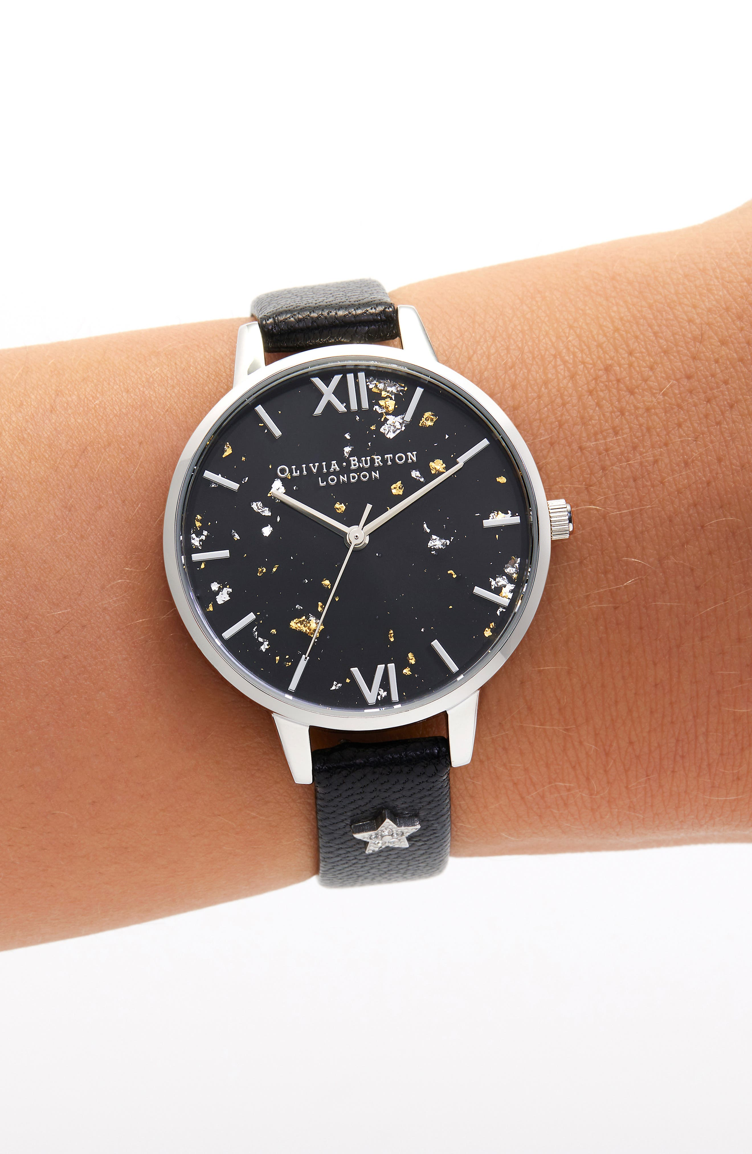 OLIVIA BURTON, Celestial Leather Strap Watch, 34mm, Alternate thumbnail 2, color, BLACK/ GOLD/ SILVER