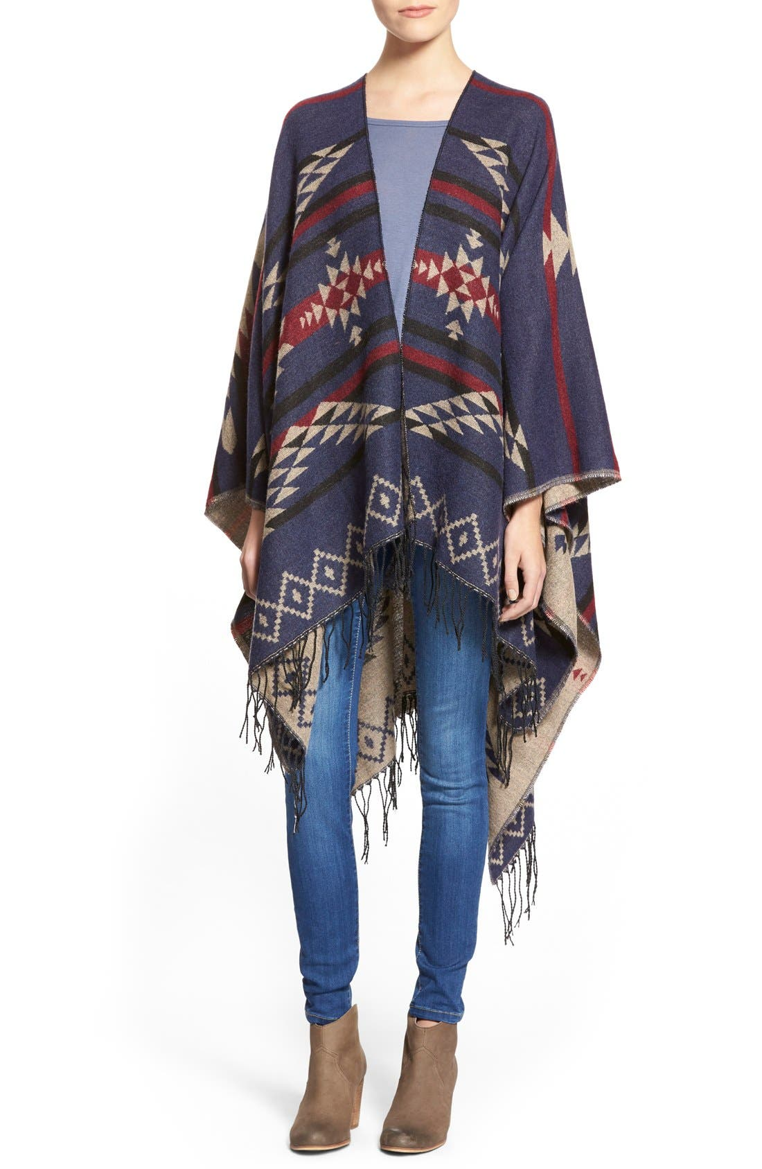 BP., Reversible Geometric Pattern Poncho, Main thumbnail 1, color, 900