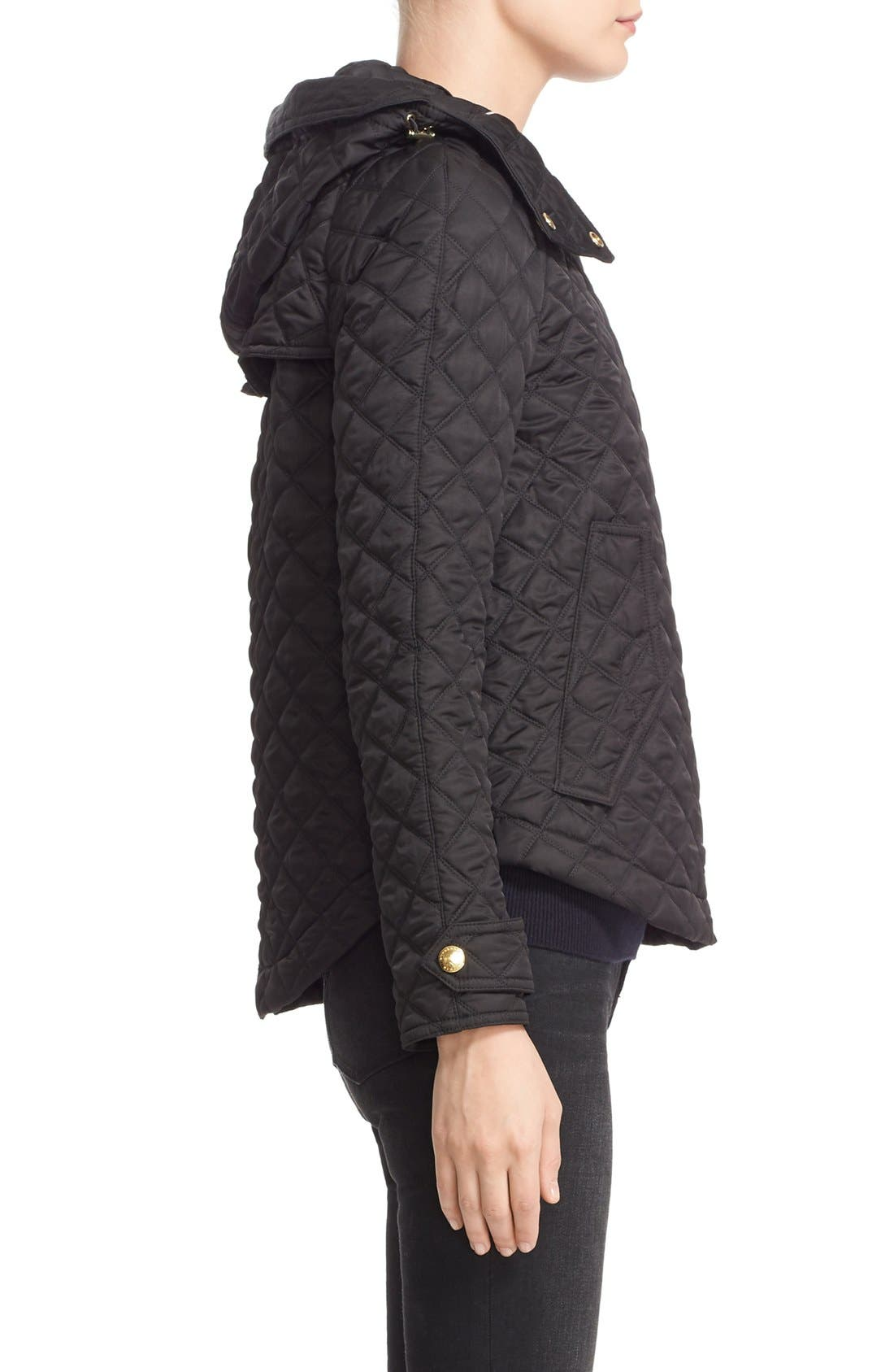 BURBERRY BRIT, 'Leightonbury' Quilted Hooded Jacket, Alternate thumbnail 6, color, 001