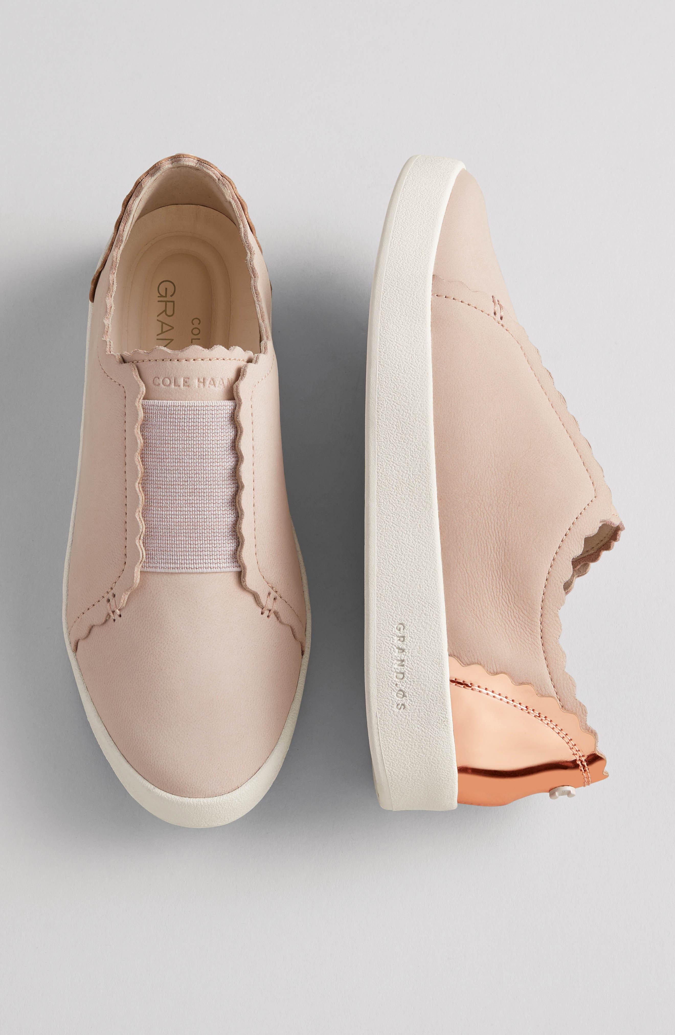 COLE HAAN, GrandPro Spectator Scalloped Slip-On Sneaker, Alternate thumbnail 7, color, PEACH BLUSH NUBUCK