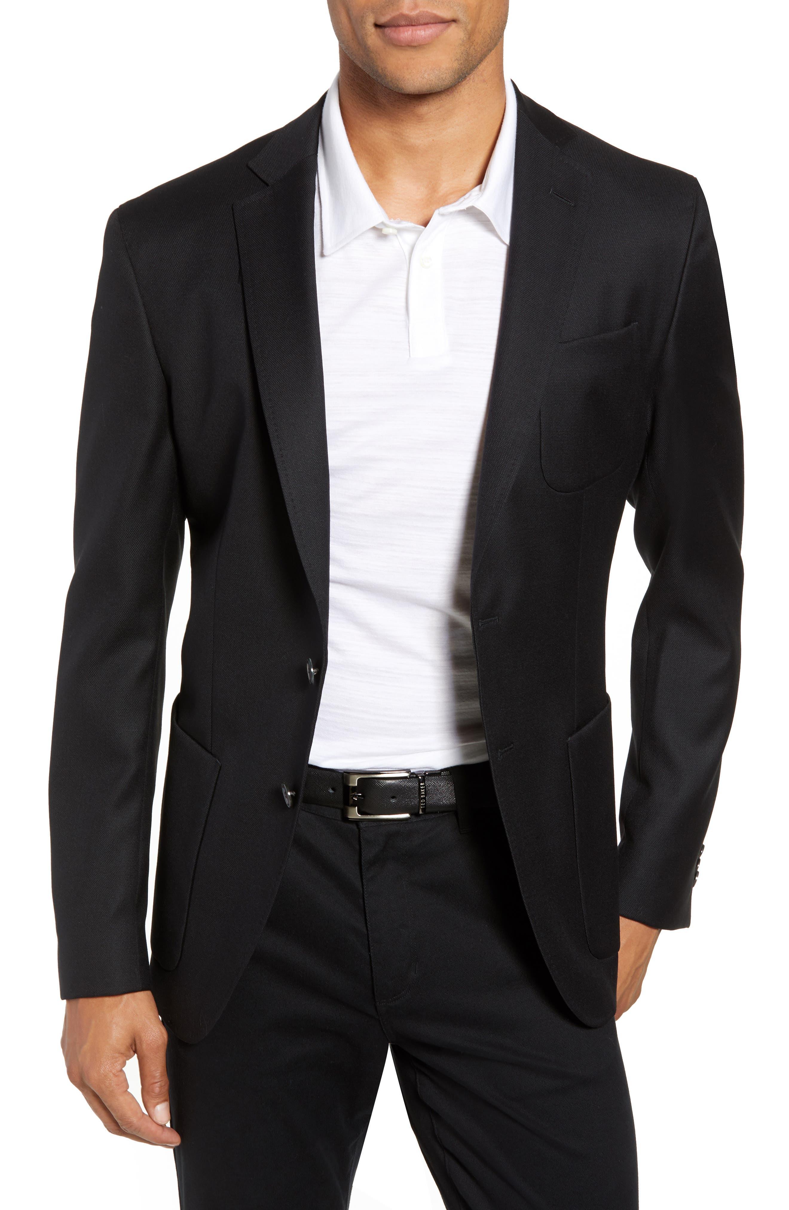 BOSS, Raye Extra Slim Fit Sport Coat, Main thumbnail 1, color, BLACK