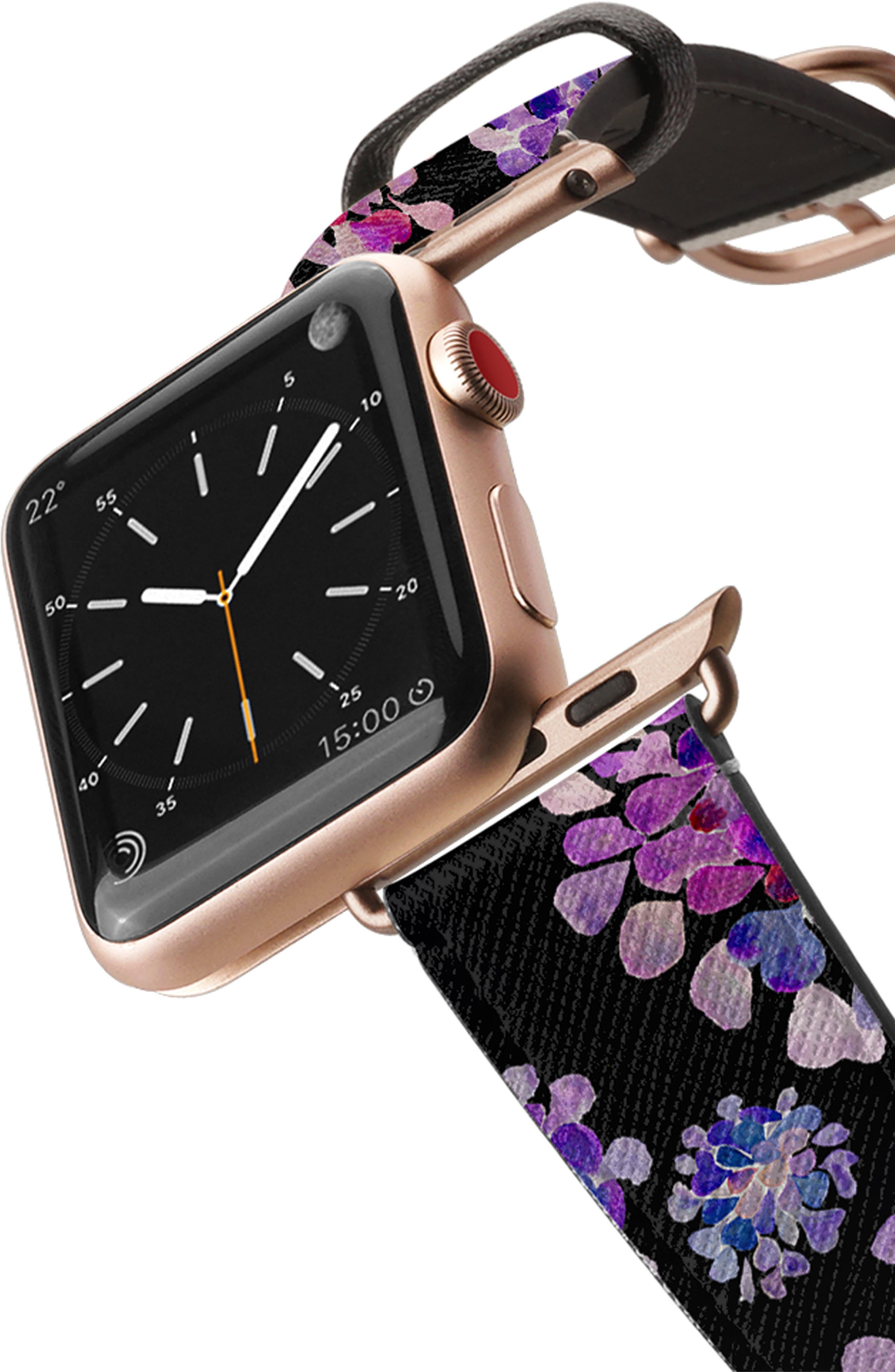 CASETIFY, Saffiano Purple Flowers Faux Leather Apple Watch Strap, Alternate thumbnail 2, color, BLACK/ ROSE GOLD