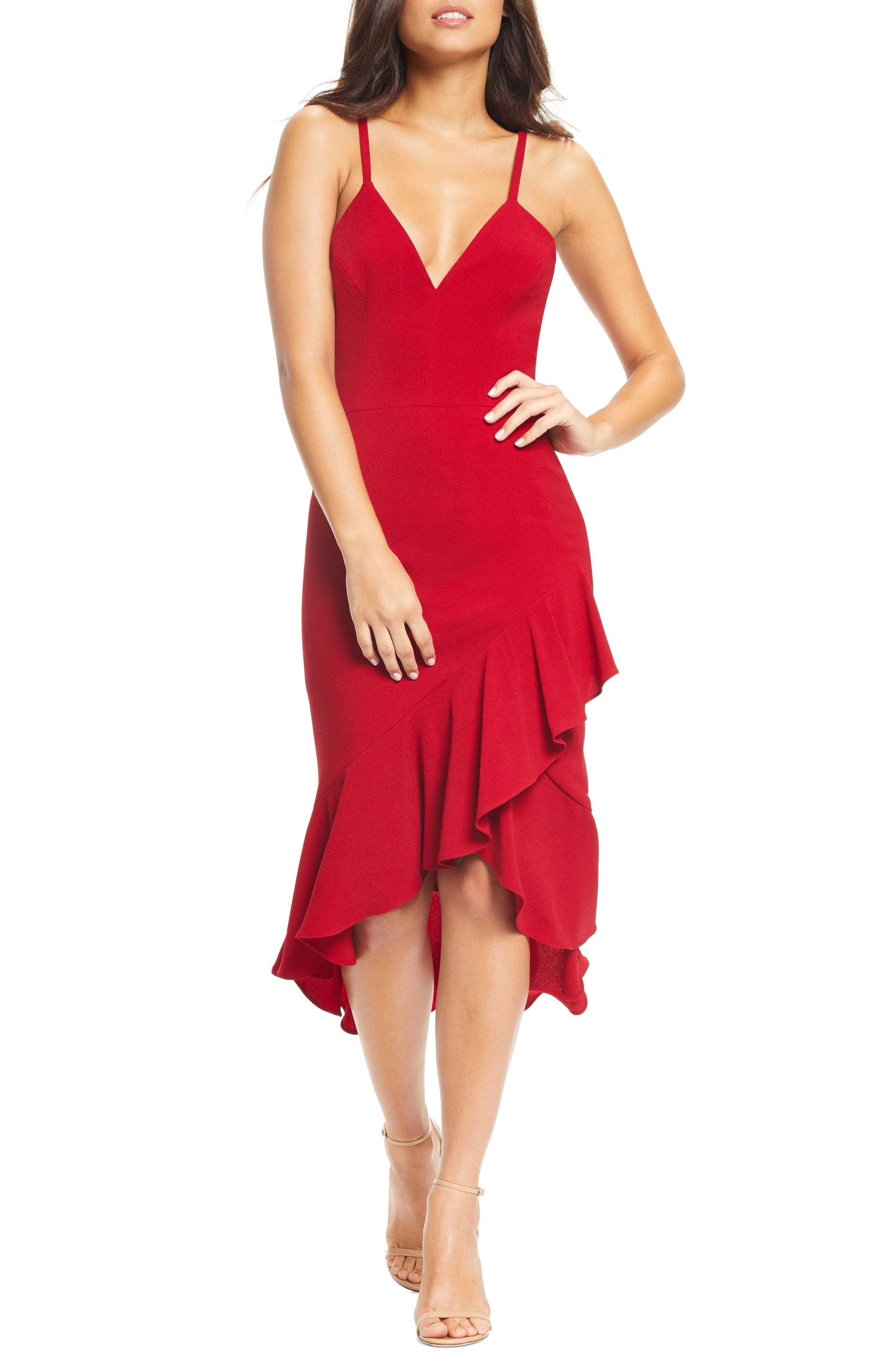 Dress The Population Wendy High/low Ruffle Cocktail Dress, Red