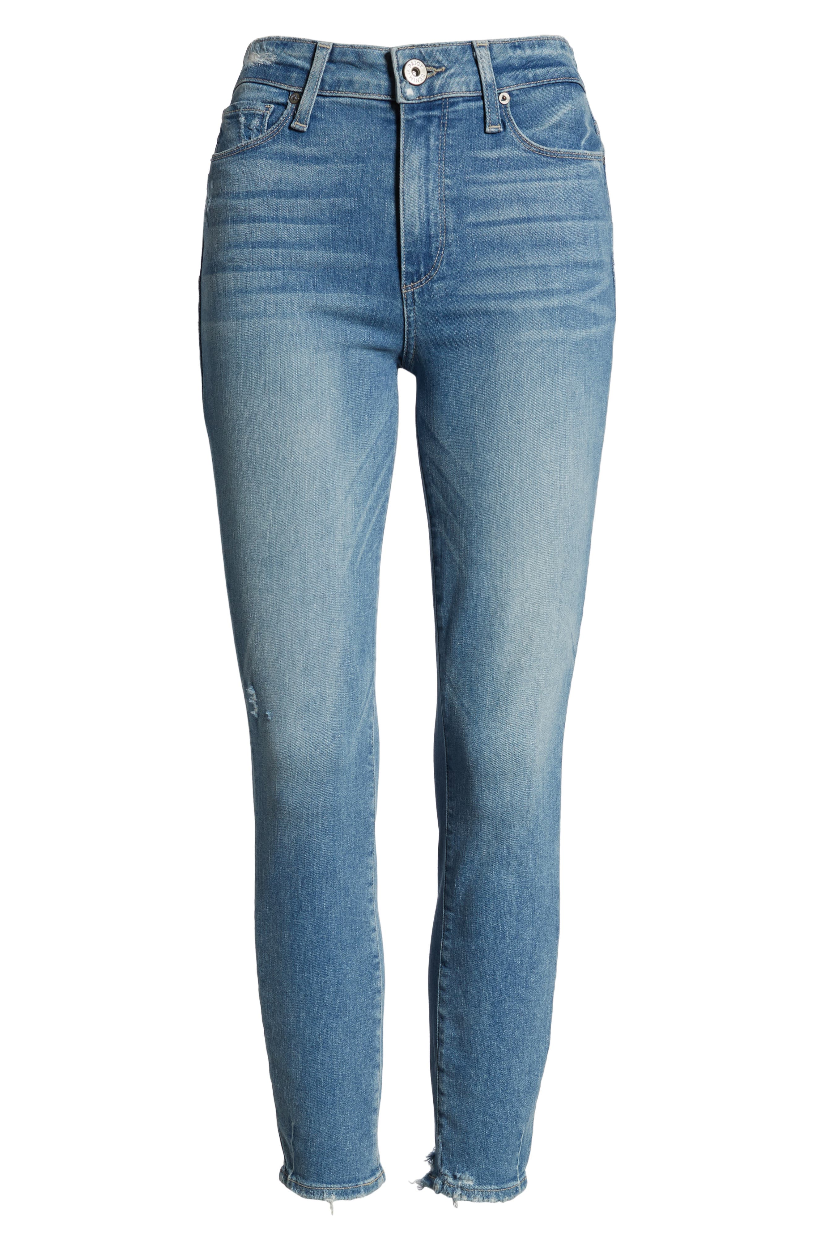 PAIGE, Hoxton Transcend Vintage High Waist Crop Skinny Jeans, Alternate thumbnail 7, color, ATTERBURY W/ TORN BACK HEM