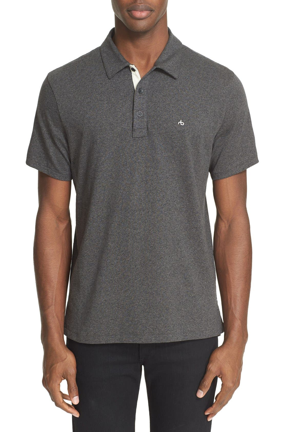 RAG & BONE, Standard Issue Regular Fit Slub Cotton Polo, Main thumbnail 1, color, PEWTER