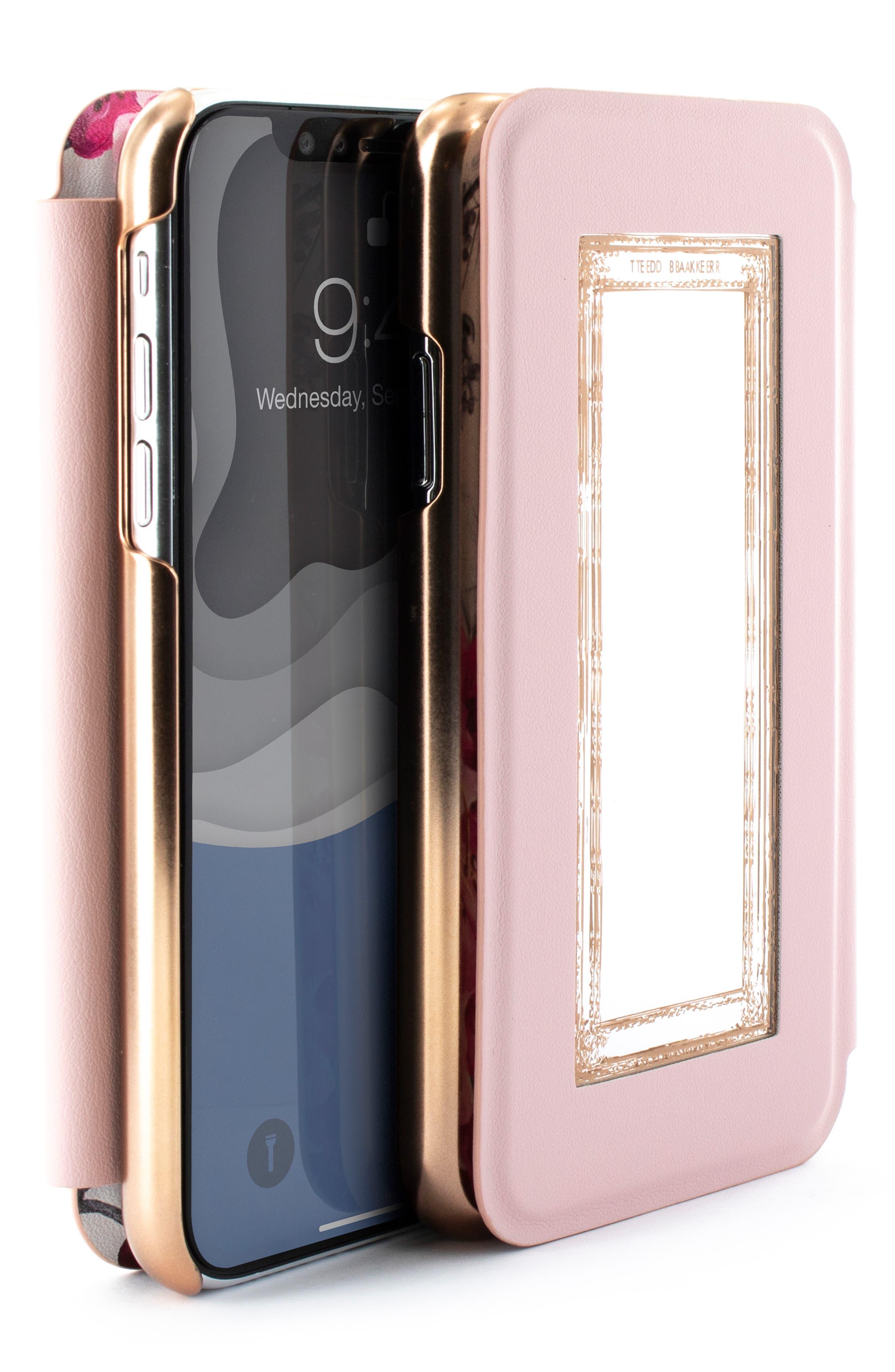 TED BAKER LONDON, Babylon iPhone X/Xs/Xs Max & XR Mirror Folio Case, Alternate thumbnail 7, color, GREY