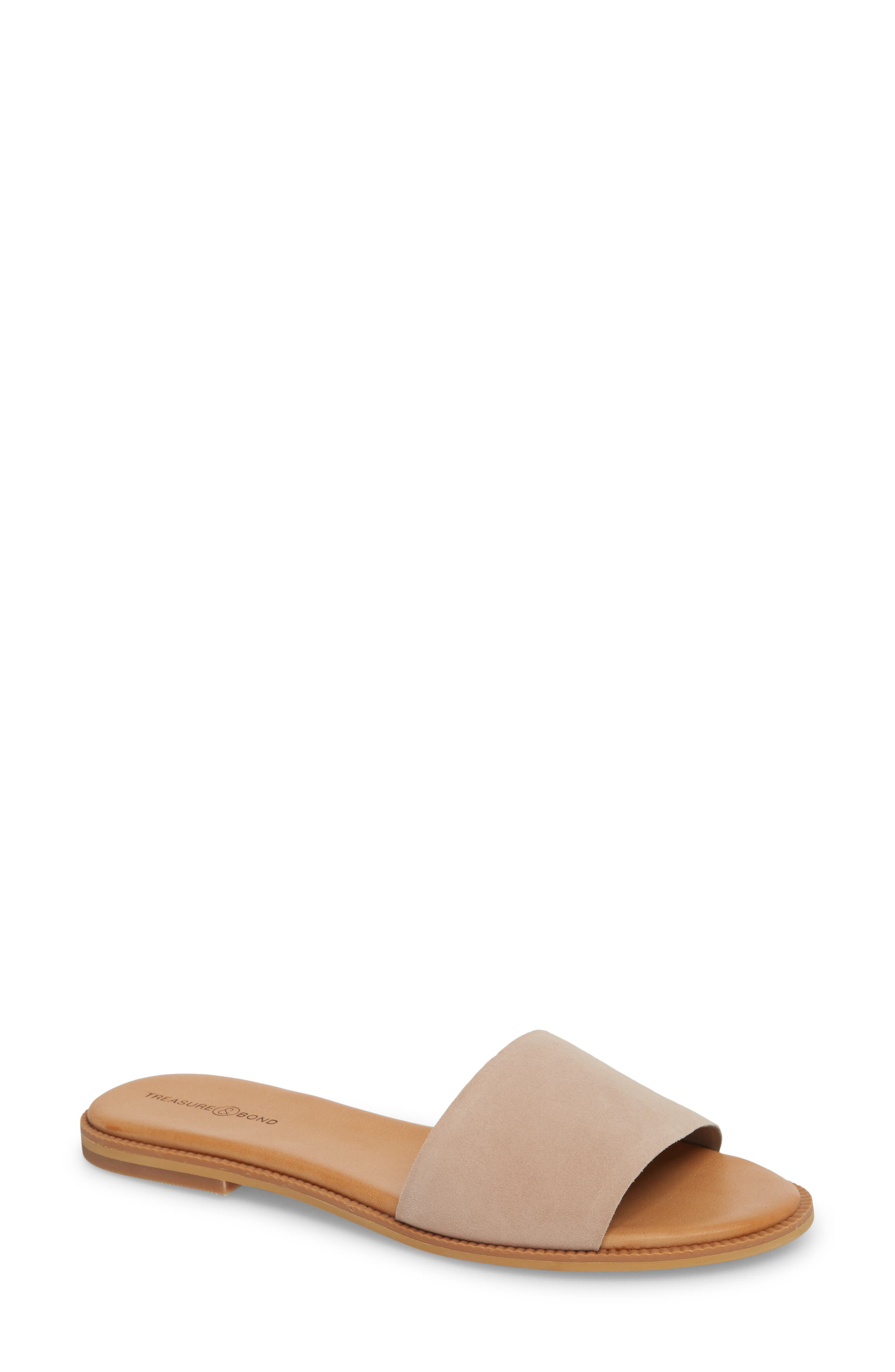 TREASURE & BOND, Mere Flat Slide Sandal, Main thumbnail 1, color, NEW BLUSH SUEDE