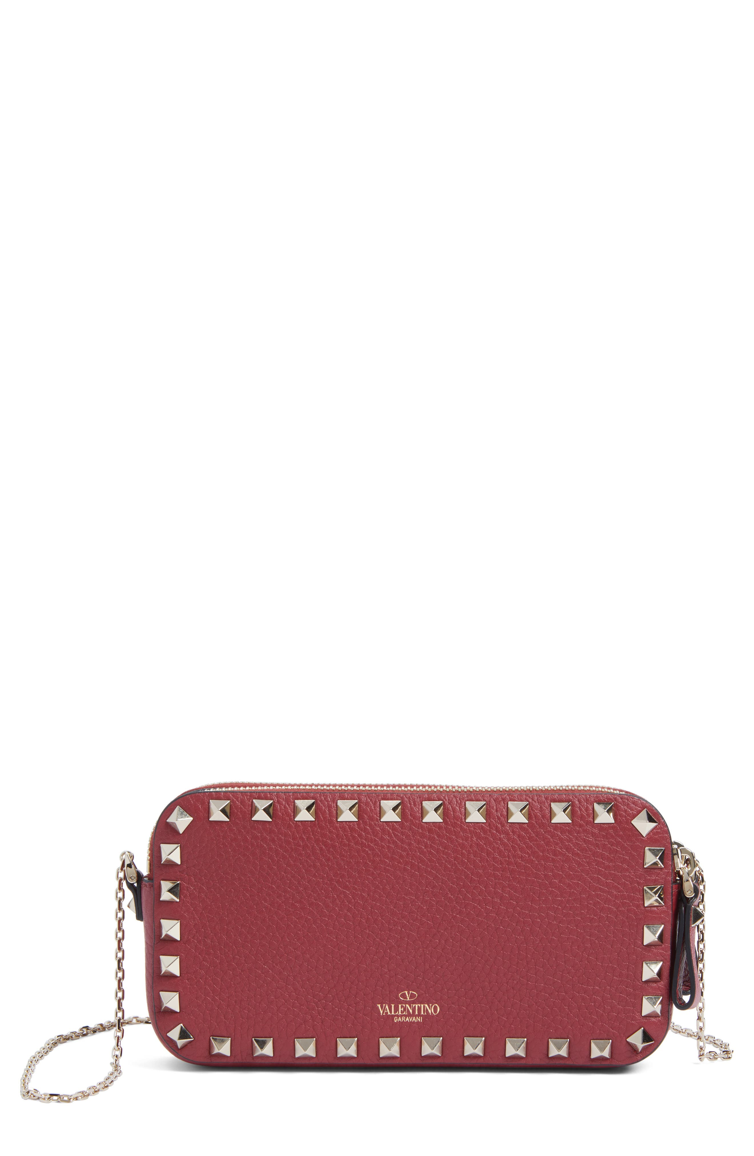 VALENTINO GARAVANI Rockstud Leather Crossbody Bag, Main, color, RUBIN