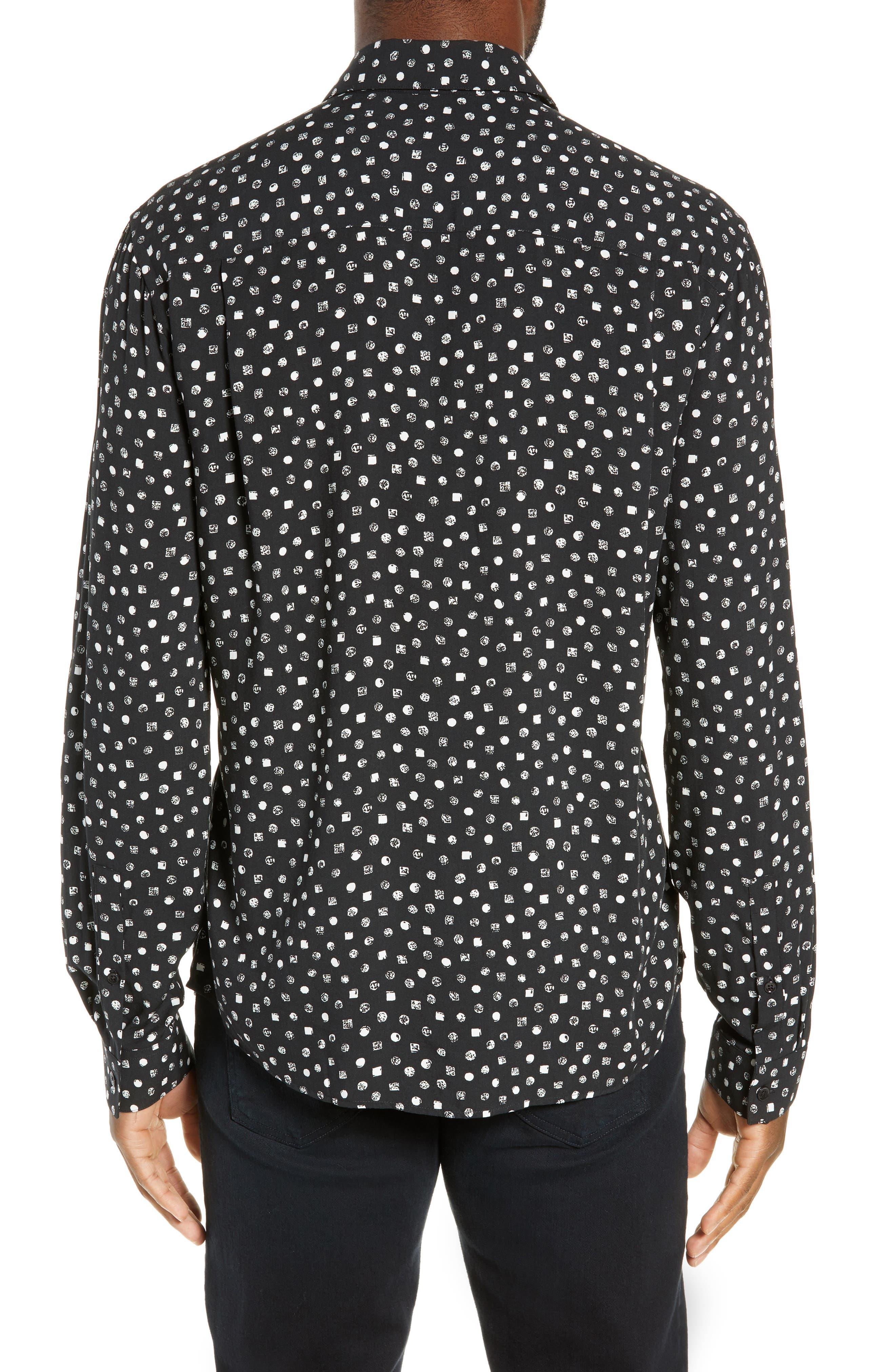 THE KOOPLES, Classic Fit Print Sport Shirt, Alternate thumbnail 3, color, BLACK WHITE