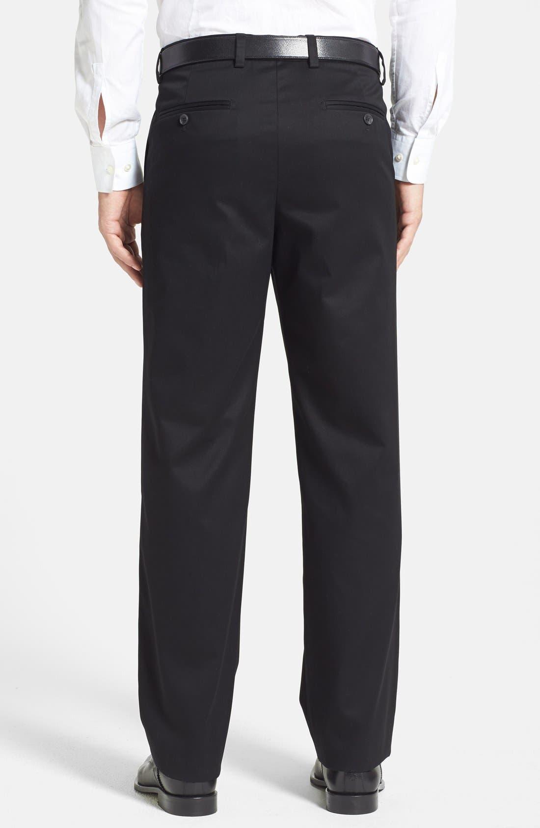 NORDSTROM MEN'S SHOP, 'Classic' Smartcare<sup>™</sup> Relaxed Fit Flat Front Cotton Pants, Alternate thumbnail 3, color, BLACK
