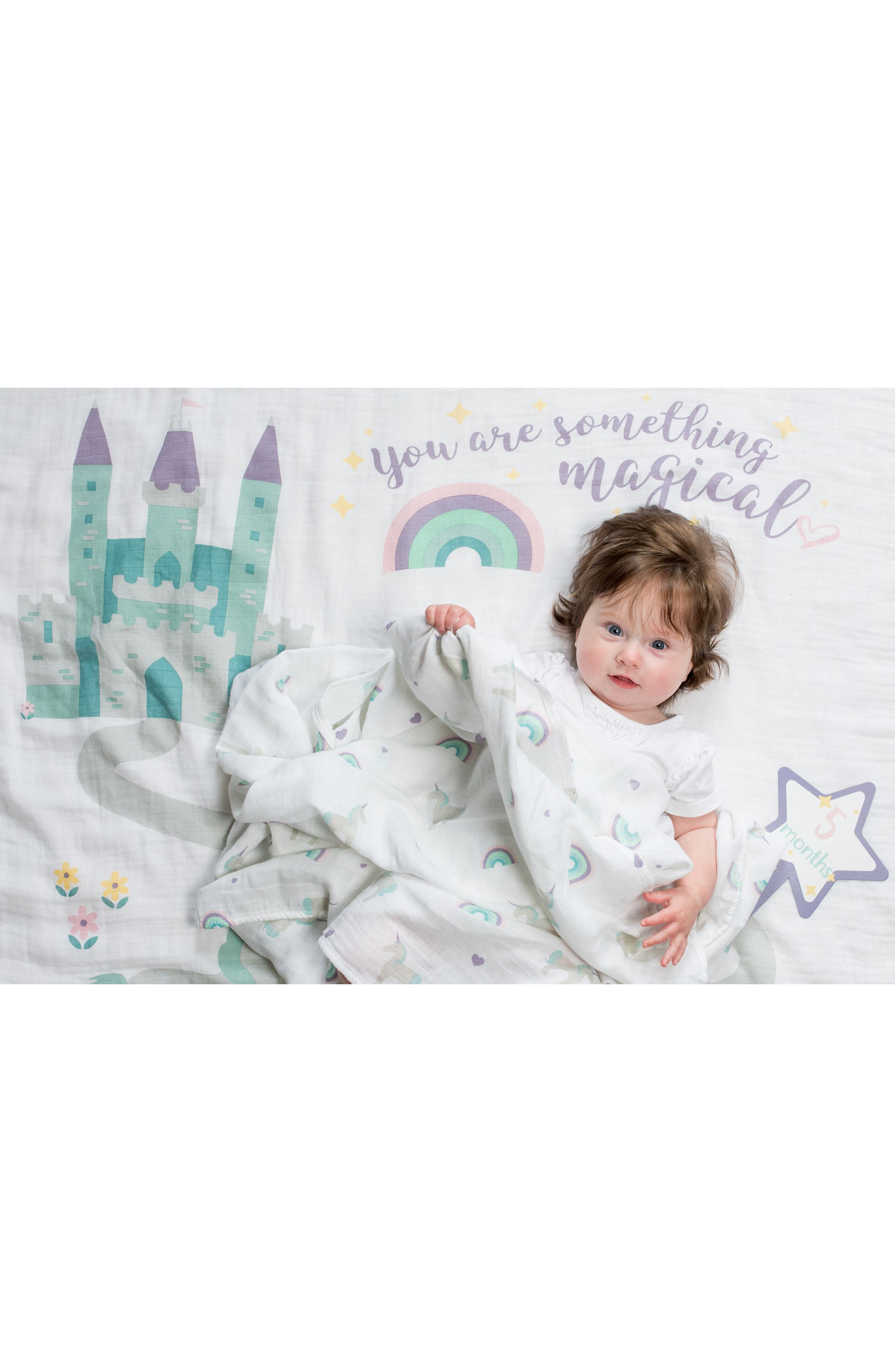 LULUJO, Baby's First Year - Something Magical Muslin Blanket & Milestone Card Set, Alternate thumbnail 3, color, LAVENDER