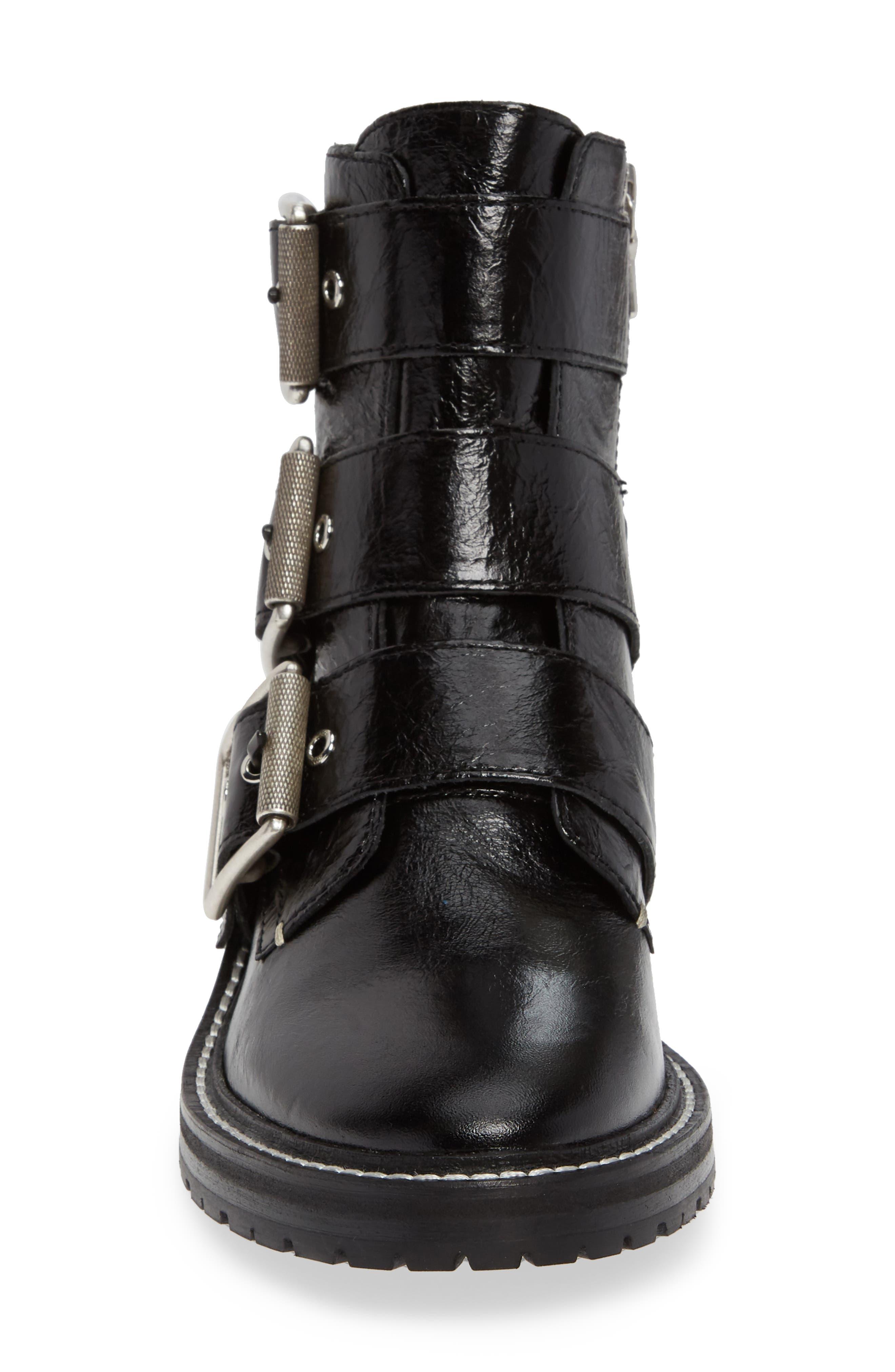 RAG & BONE, Cannon Buckle Moto Boot, Alternate thumbnail 4, color, BLACK
