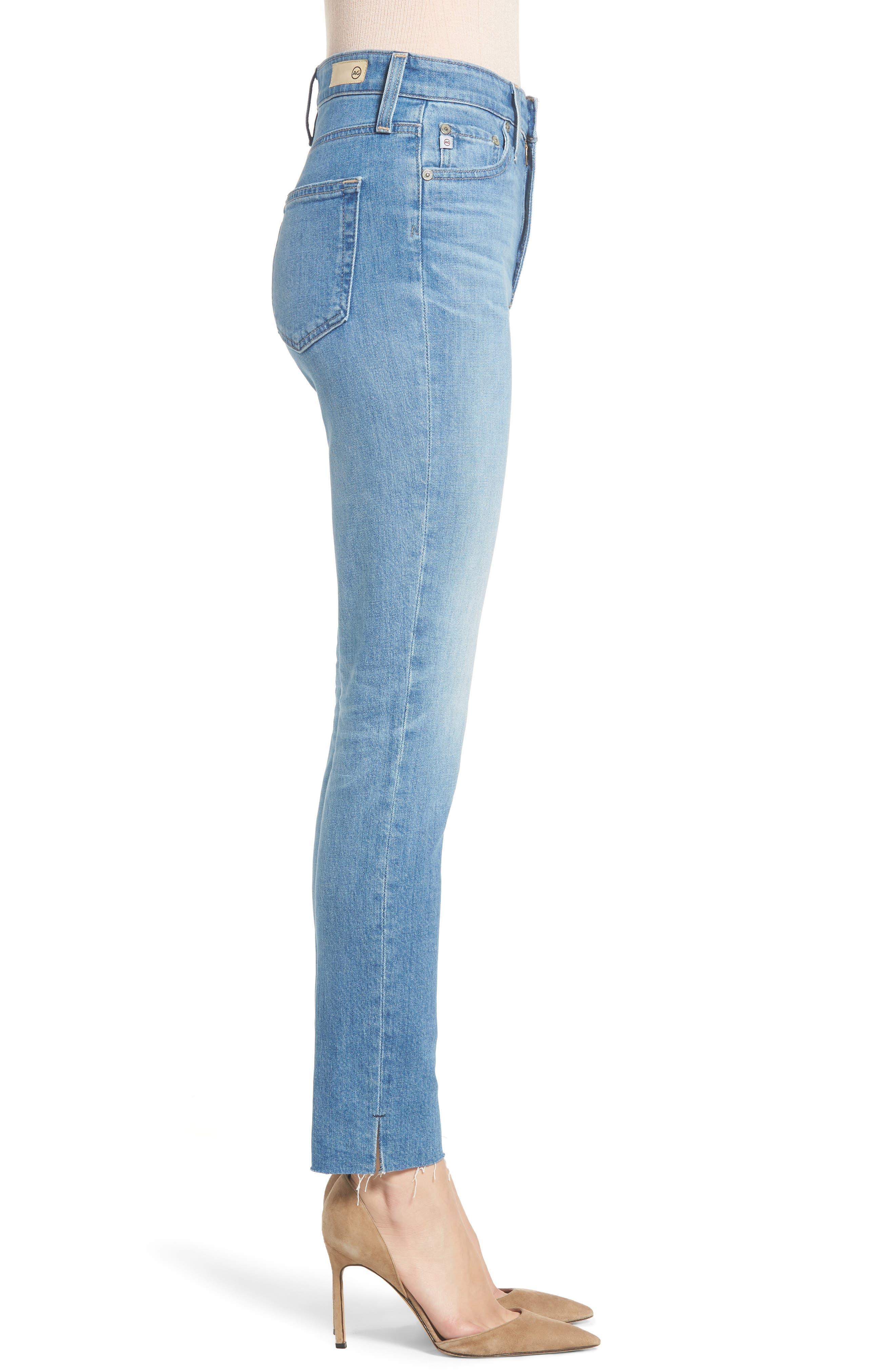 AG, Sophia Raw Hem High Waist Ankle Skinny Jeans, Alternate thumbnail 4, color, 467