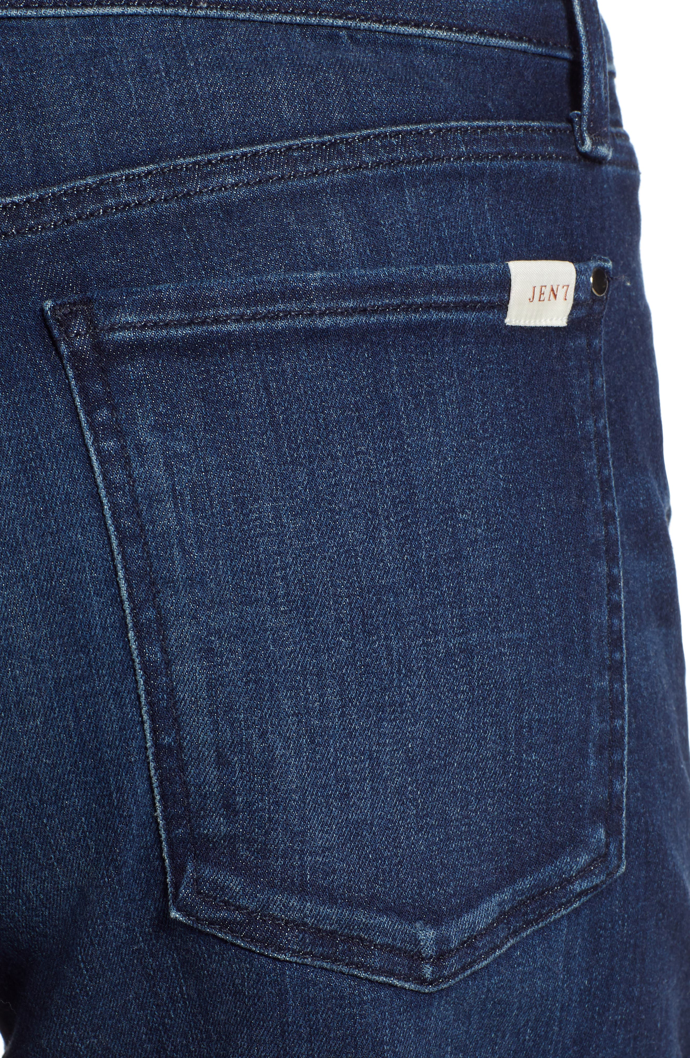 JEN7 BY 7 FOR ALL MANKIND, Roll Cuff Denim Shorts, Alternate thumbnail 4, color, IMPERIAL INDIGO
