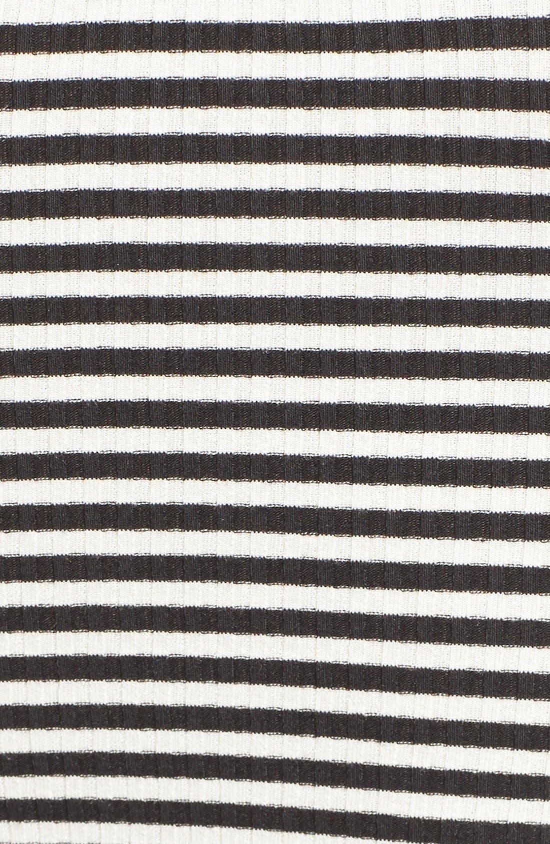 MICHELLE BY COMUNE, Stripe Off the Shoulder Top, Alternate thumbnail 5, color, 001
