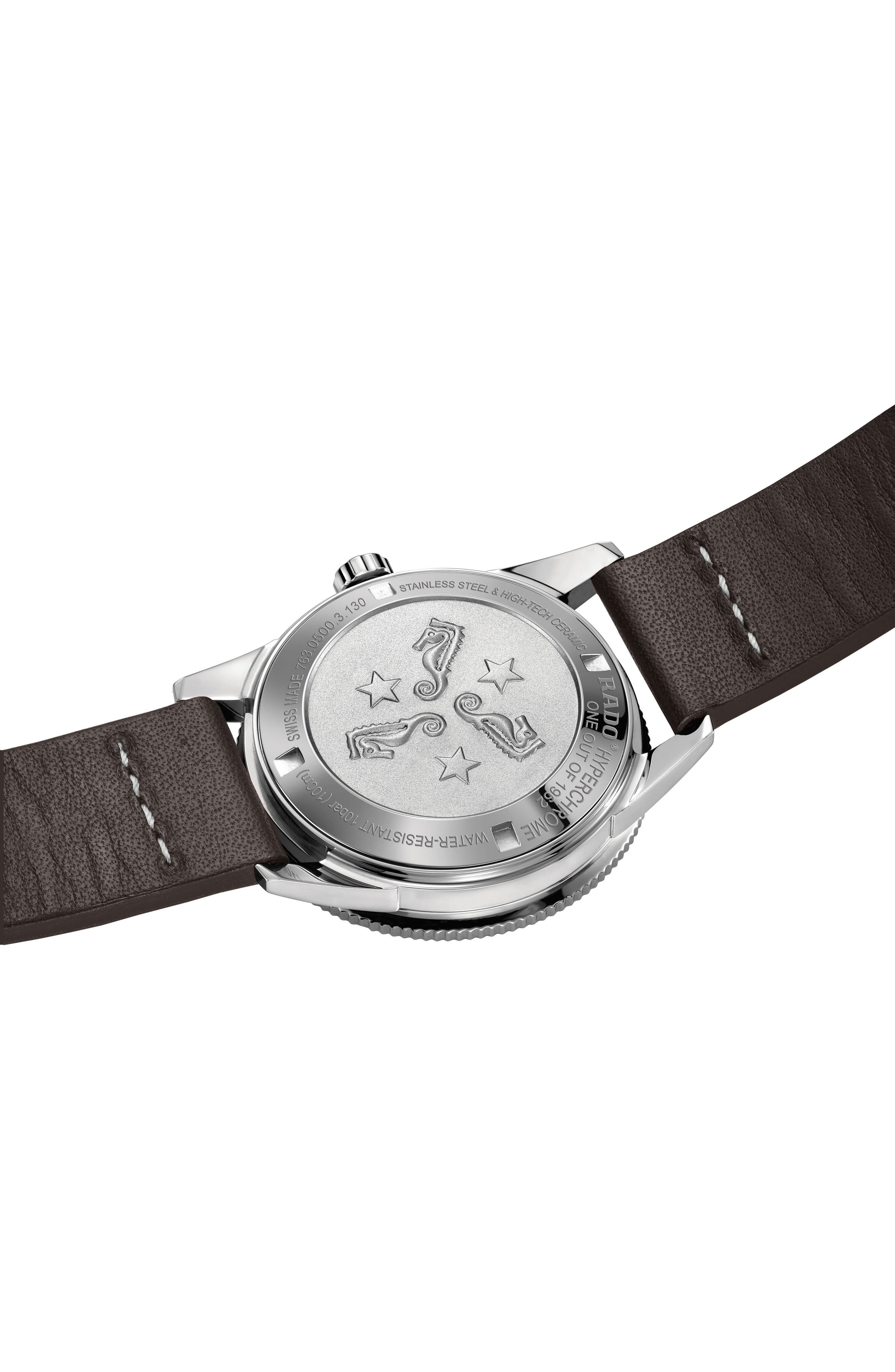 RADO, HyperChrome Captain Cook Automatic Leather Strap Watch, 37.3mm, Alternate thumbnail 2, color, BROWN/ SILVER