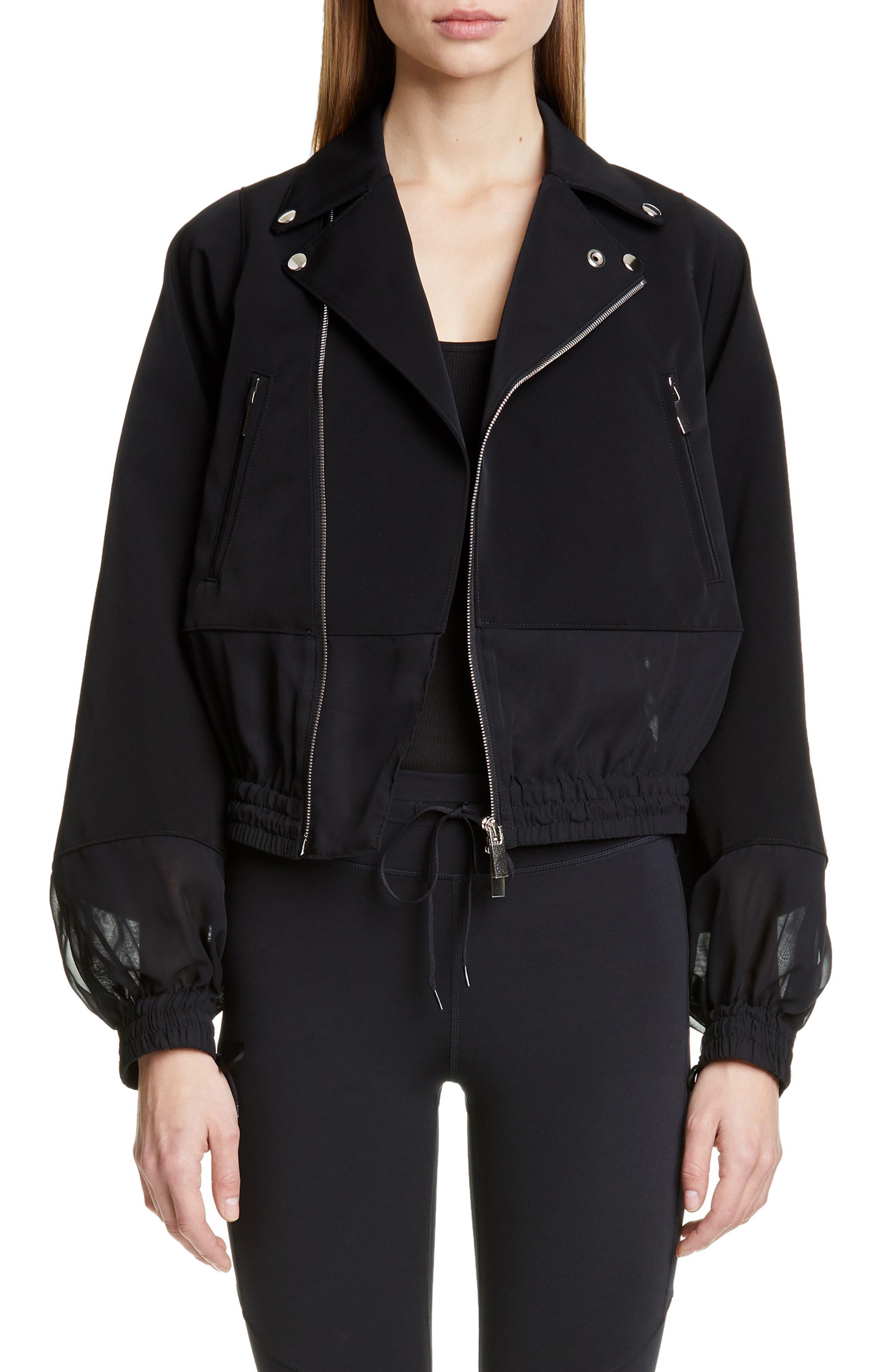 NOIR KEI NINOMIYA Sheer Panel Moto Jacket, Main, color, BLACK