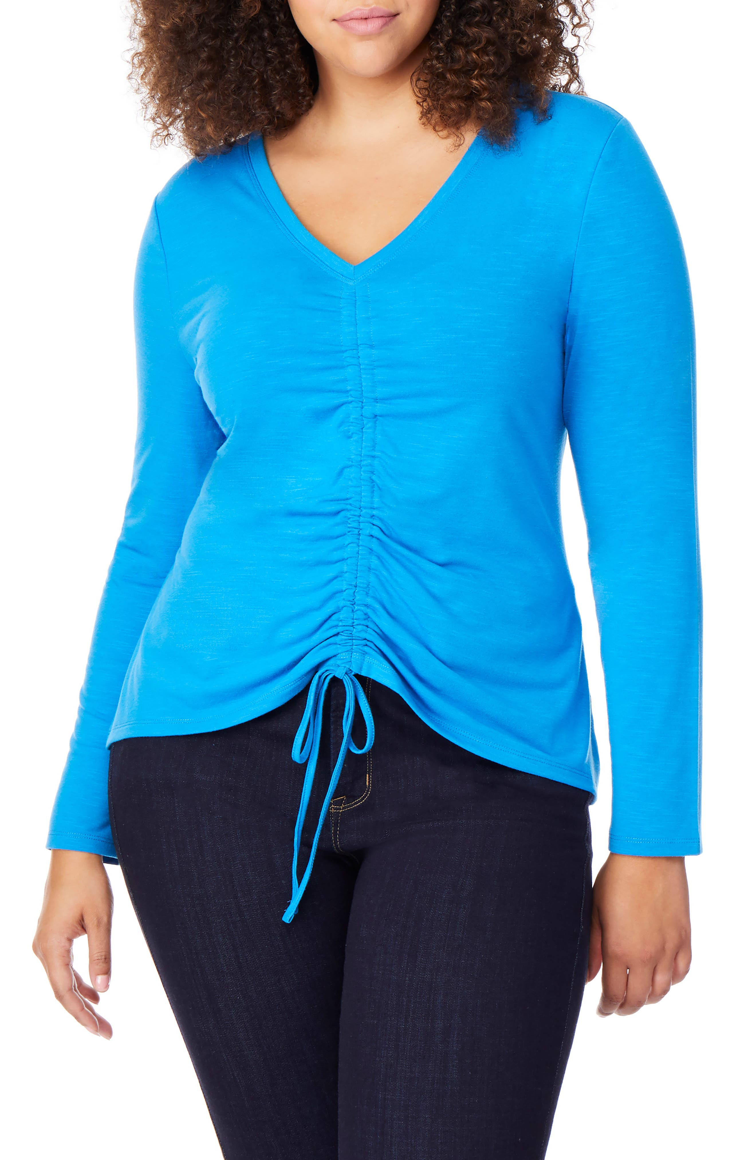 REBEL WILSON X ANGELS, Ruched Front V-Neck Top, Main thumbnail 1, color, DIRECTOIRE BLUE