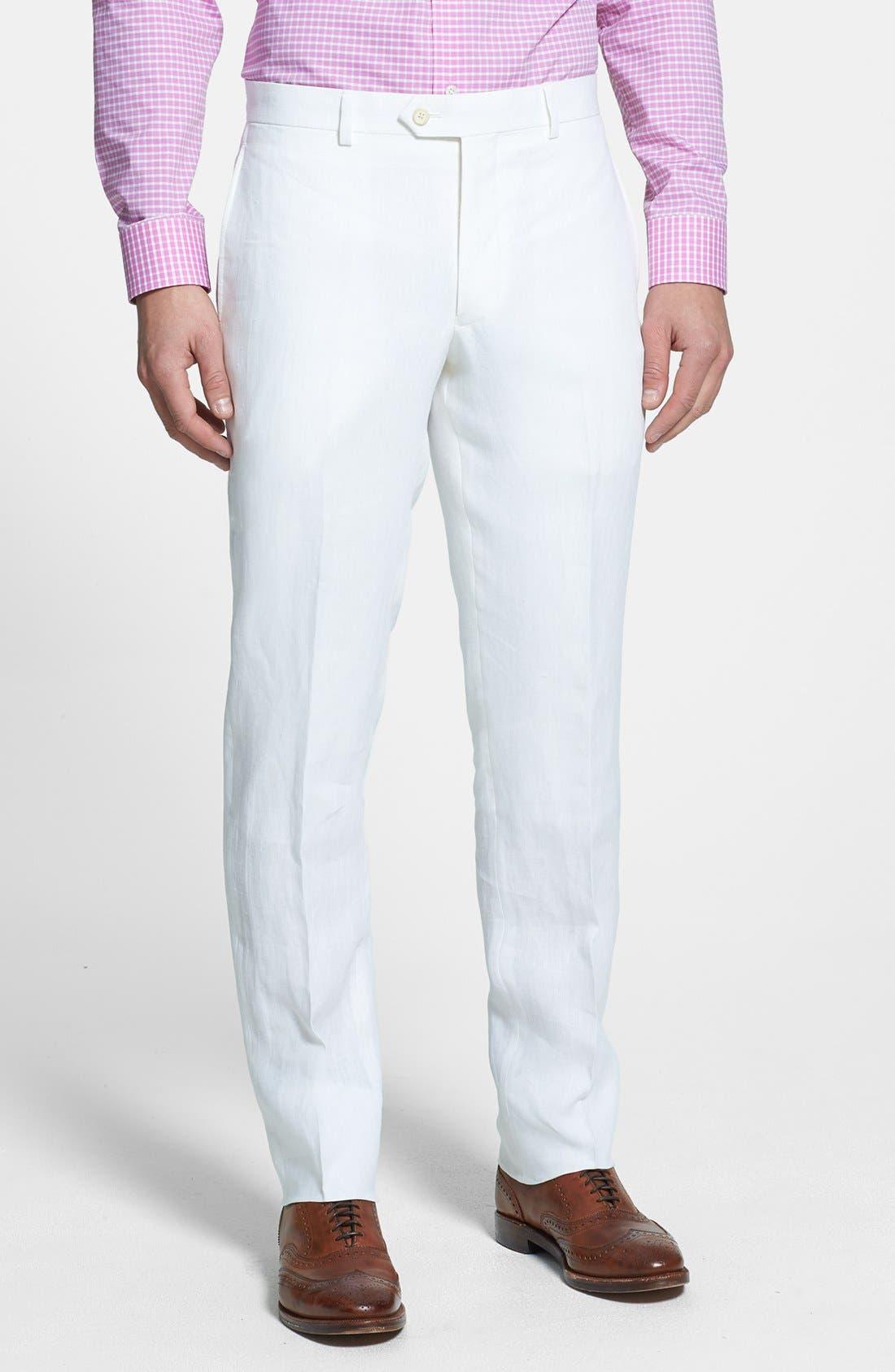 NORDSTROM MEN'S SHOP, Flat Front Slim Leg Linen Trousers, Main thumbnail 1, color, 100
