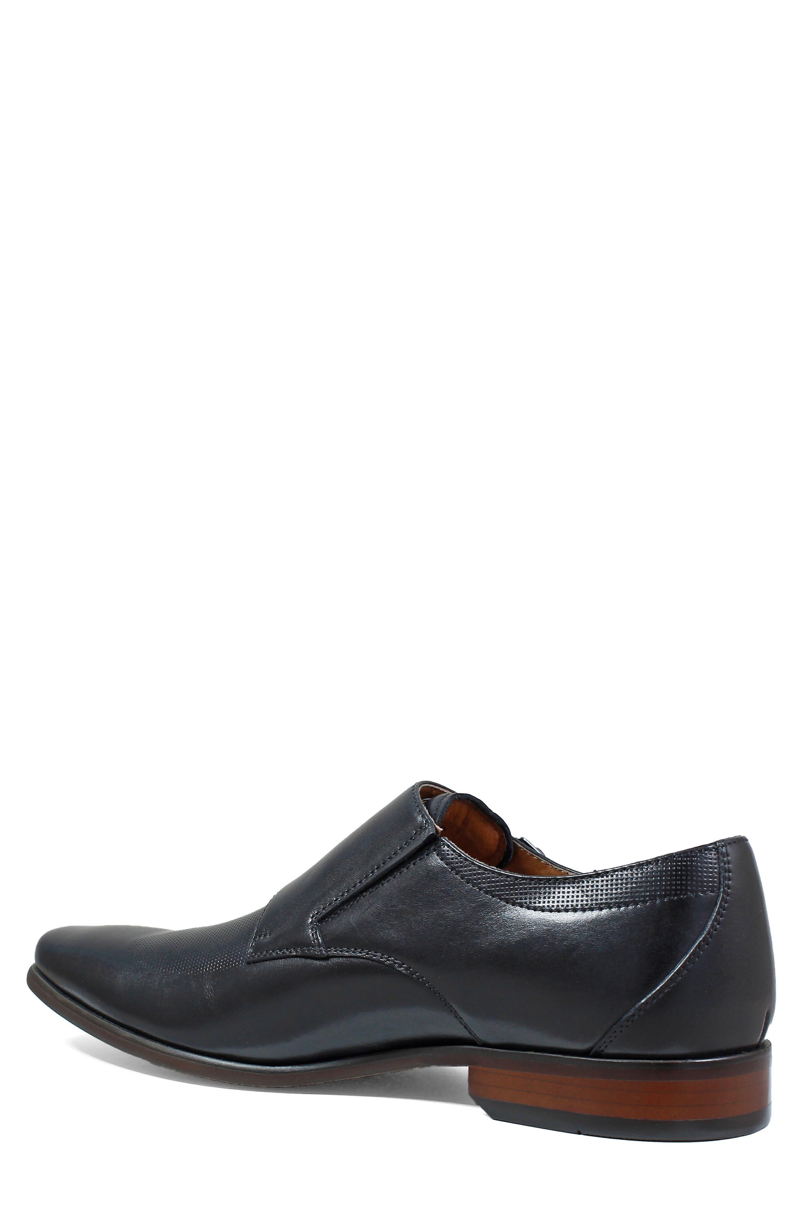 FLORSHEIM, Postino Textured Double Strap Monk Shoe, Alternate thumbnail 2, color, BLACK LEATHER