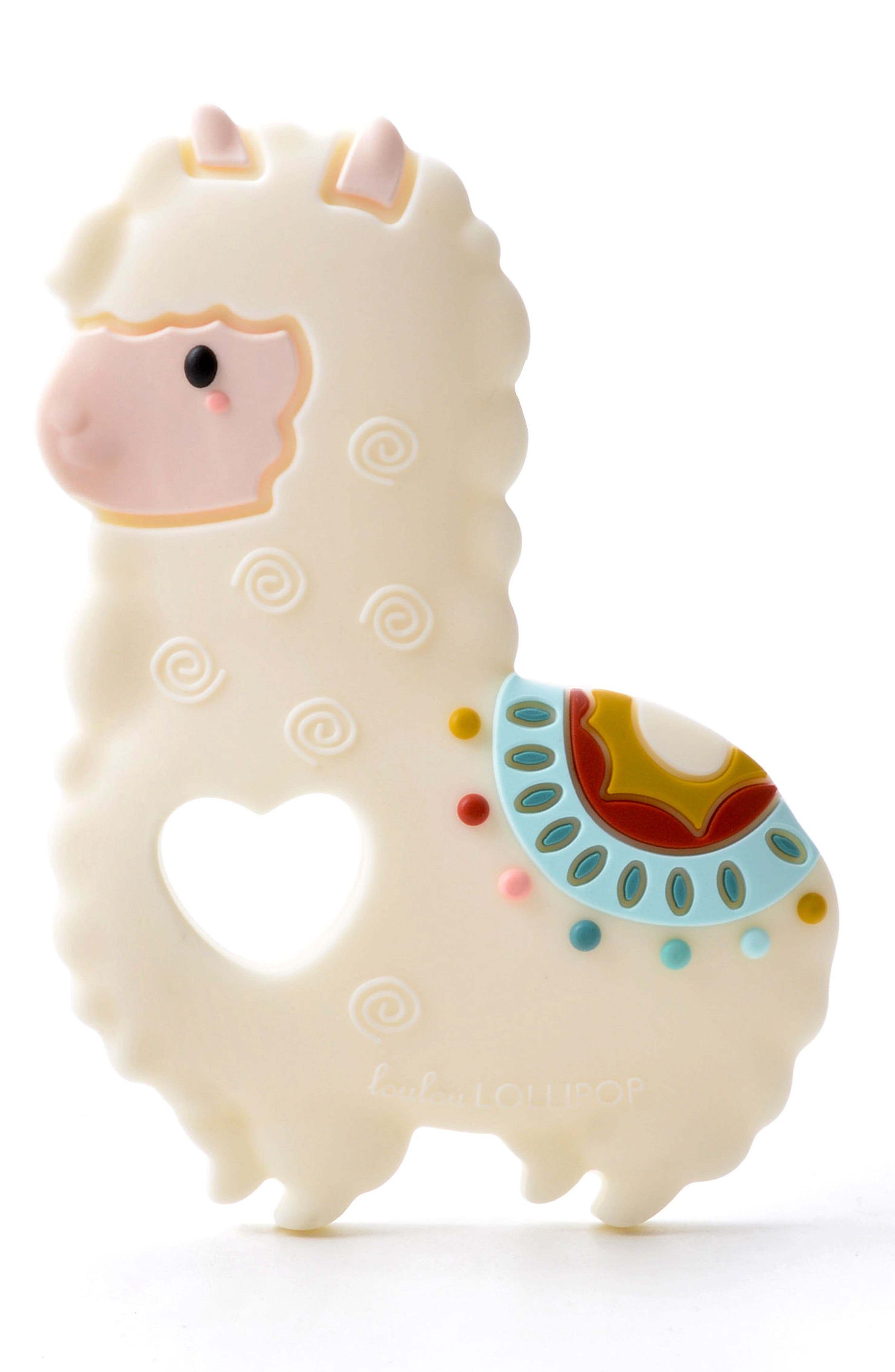 LOULOU LOLLIPOP, Llama Teething Toy & Holder, Alternate thumbnail 2, color, WHITE MULTI