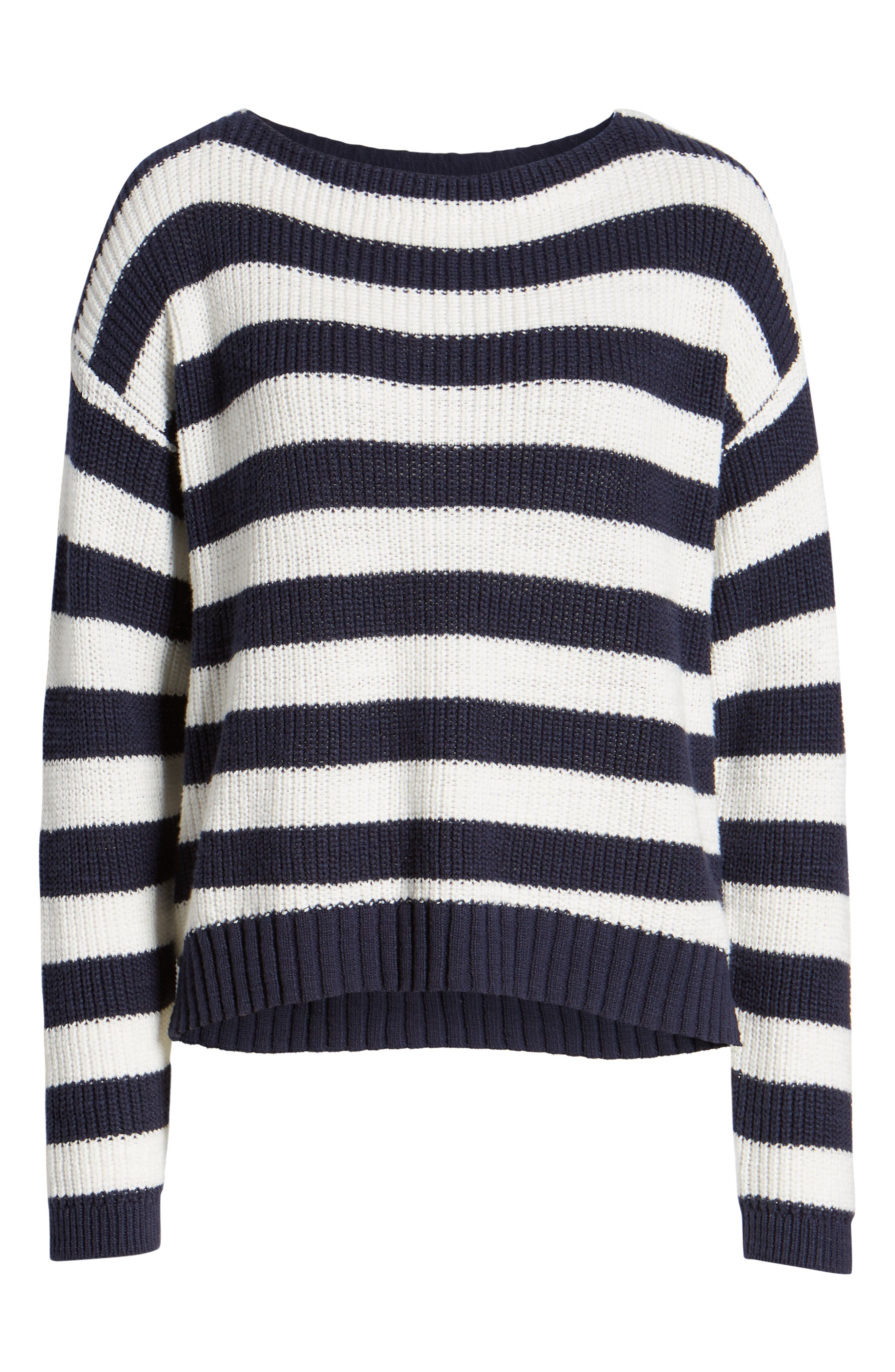 CASLON<SUP>®</SUP>, Boat Neck Pullover, Alternate thumbnail 6, color, NAVY STRIPE