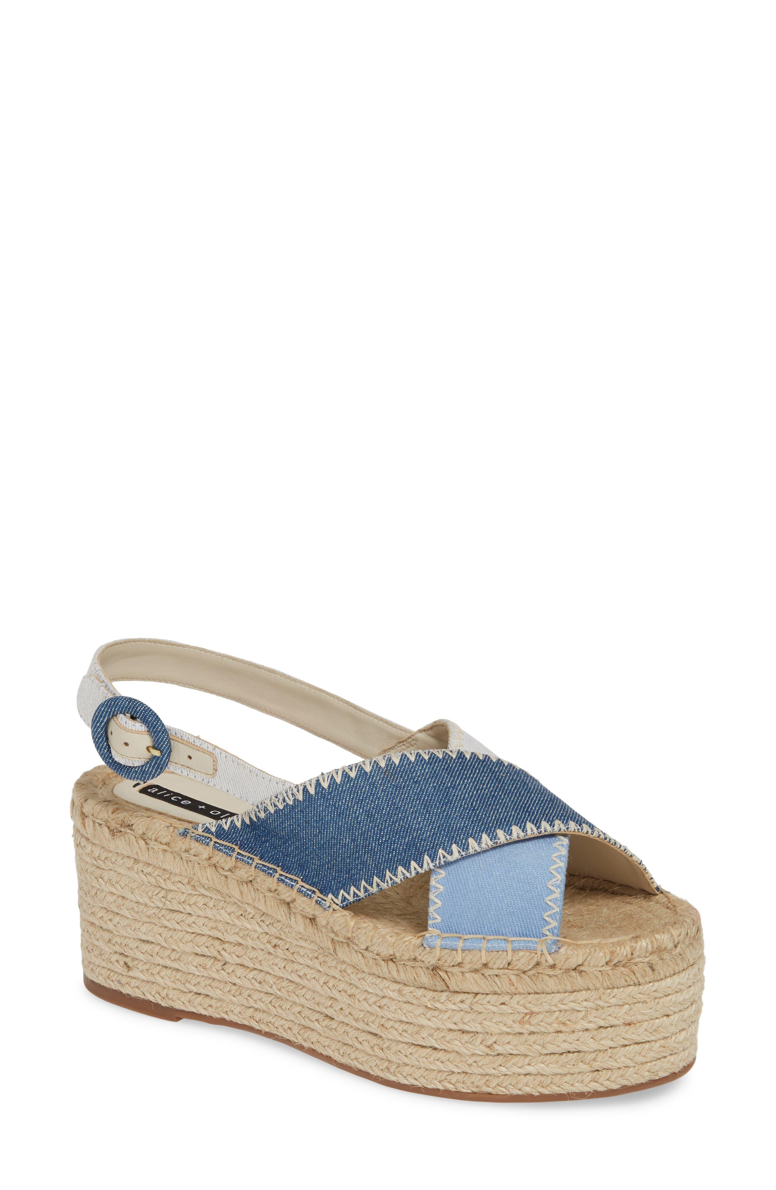 ALICE + OLIVIA, Fayen Platform Sandal, Main thumbnail 1, color, DARK BLUE/ LIGHT BLUE/ IVORY