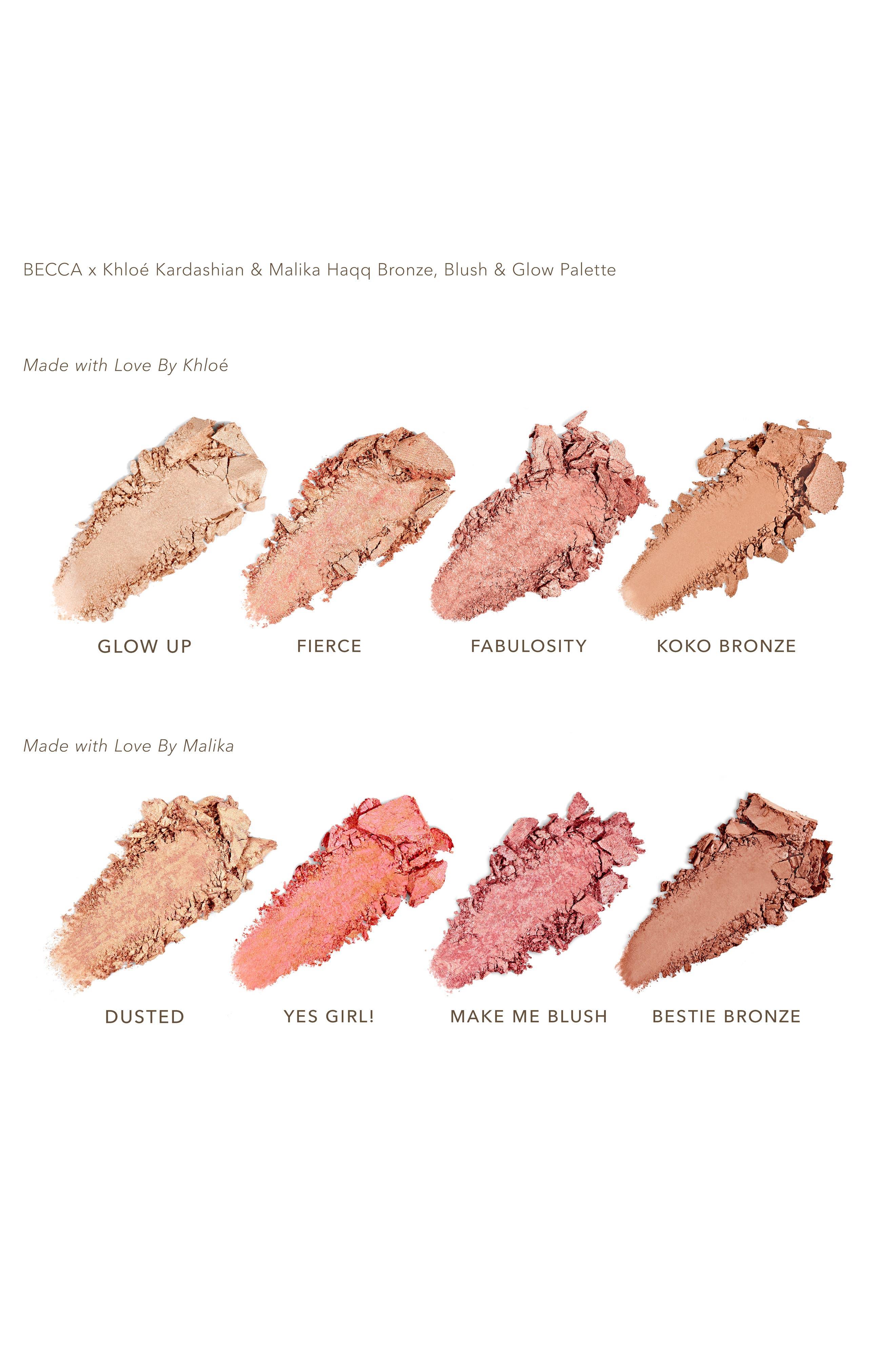 BECCA COSMETICS, BECCA x Khloé Kardashian & Malika Haqq Bronze, Blush & Glow Palette, Alternate thumbnail 3, color, KHLOE