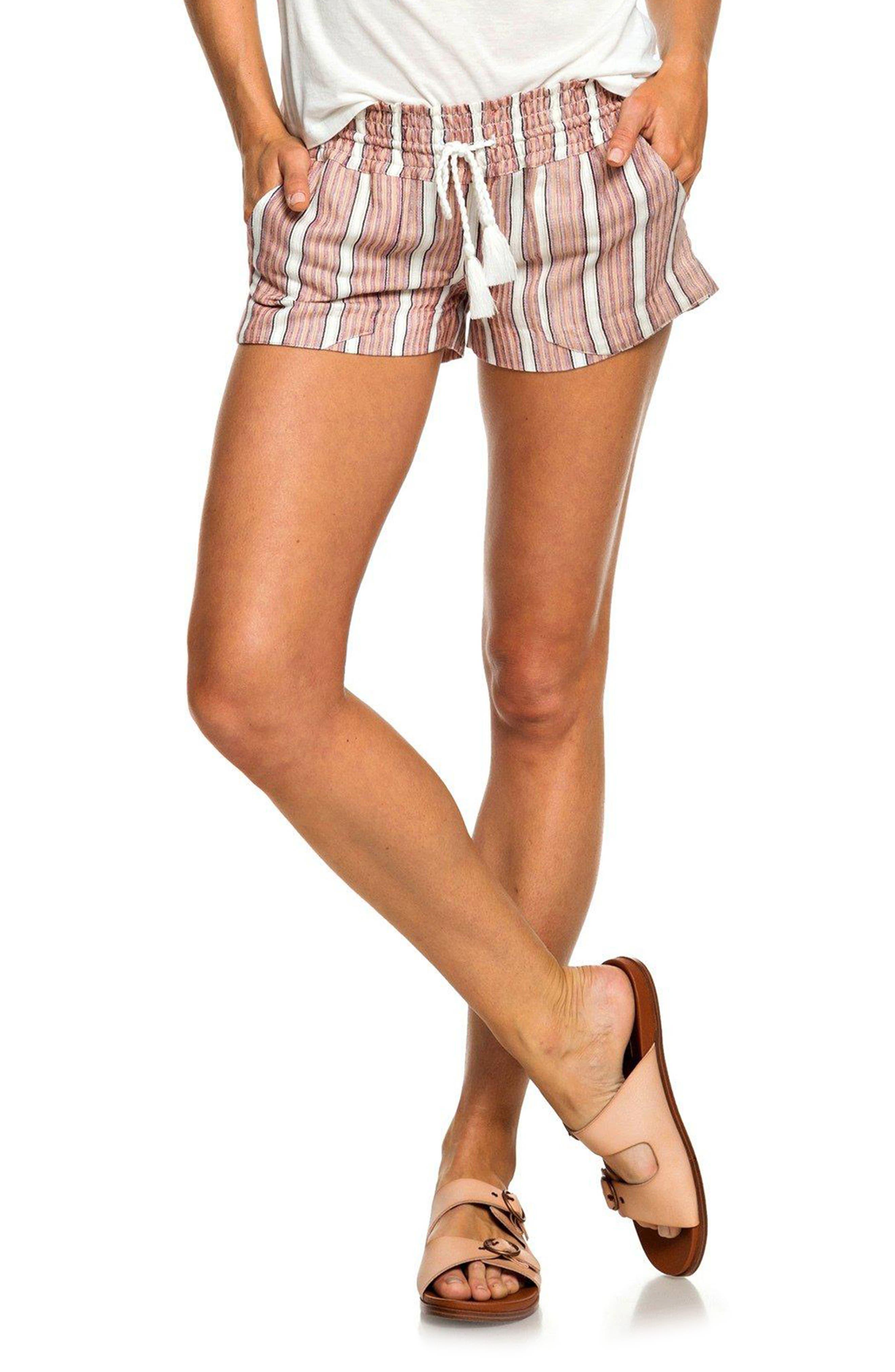 ROXY Oceanside Stripe Shorts, Main, color, 950