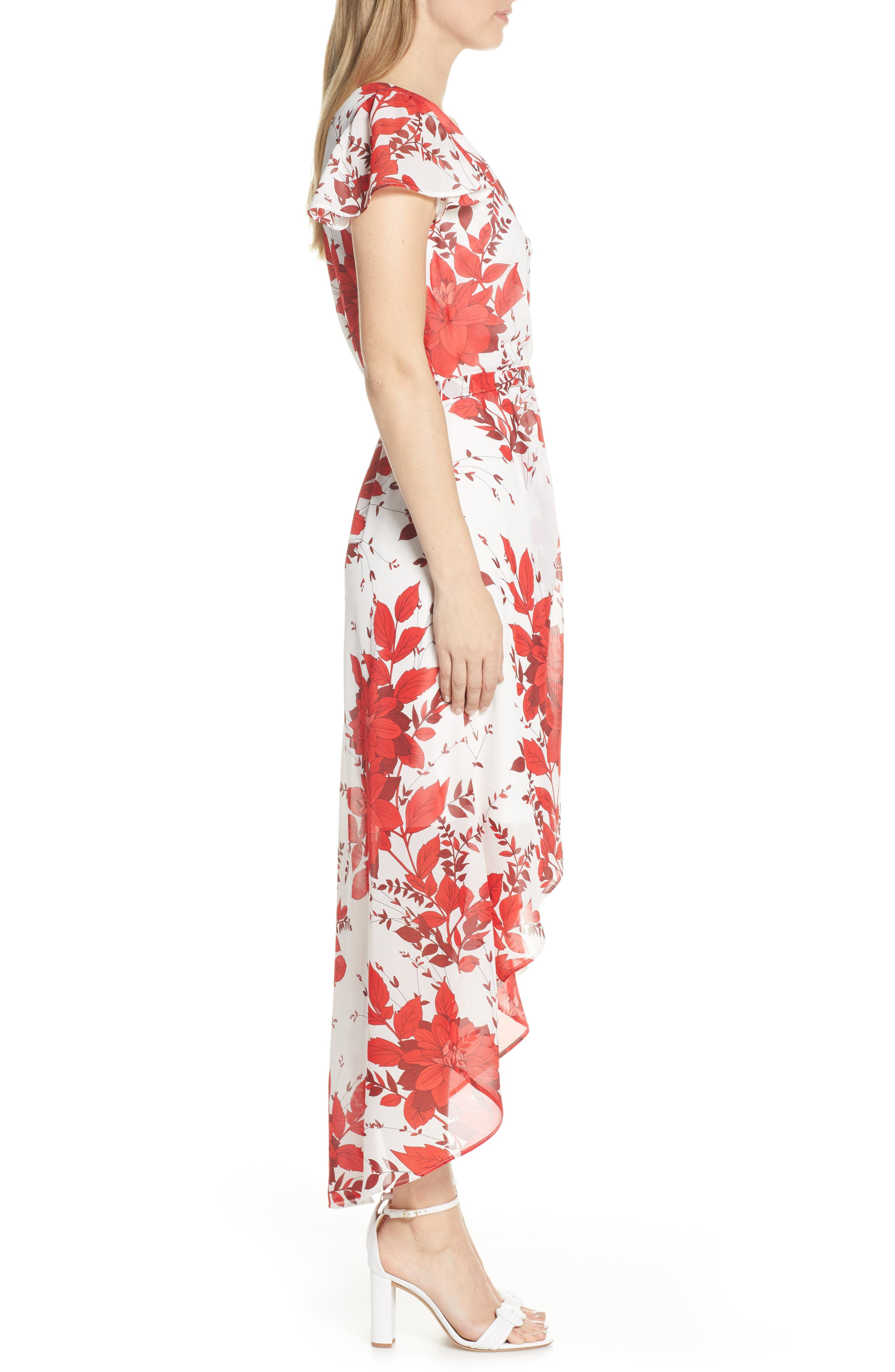JULIA JORDAN, High/Low Floral Wrap Dress, Alternate thumbnail 4, color, IVORY/ RED