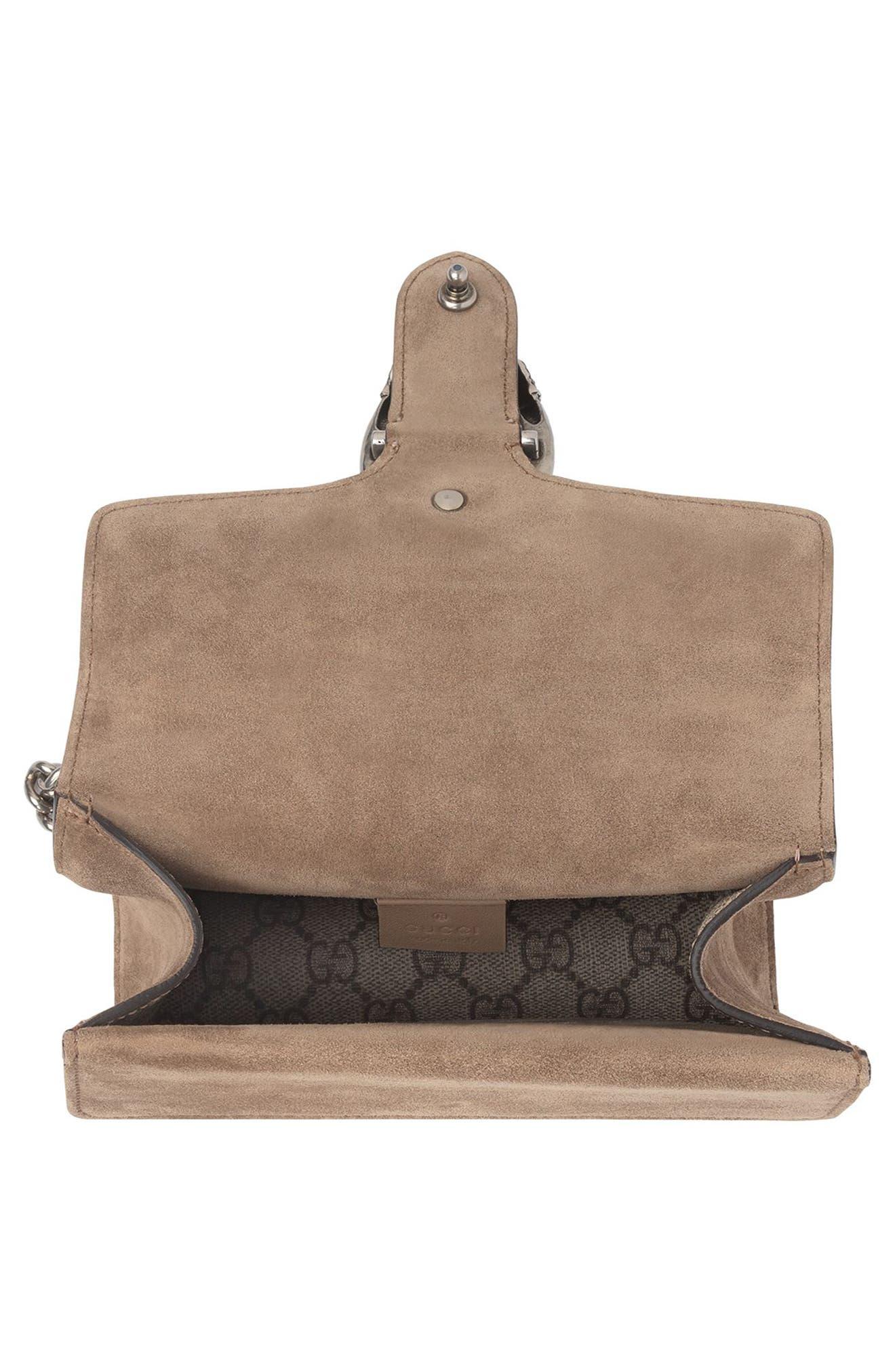 GUCCI, Mini Dionysus GG Supreme Shoulder Bag, Alternate thumbnail 4, color, BEIGE EBONY/ TAUPE