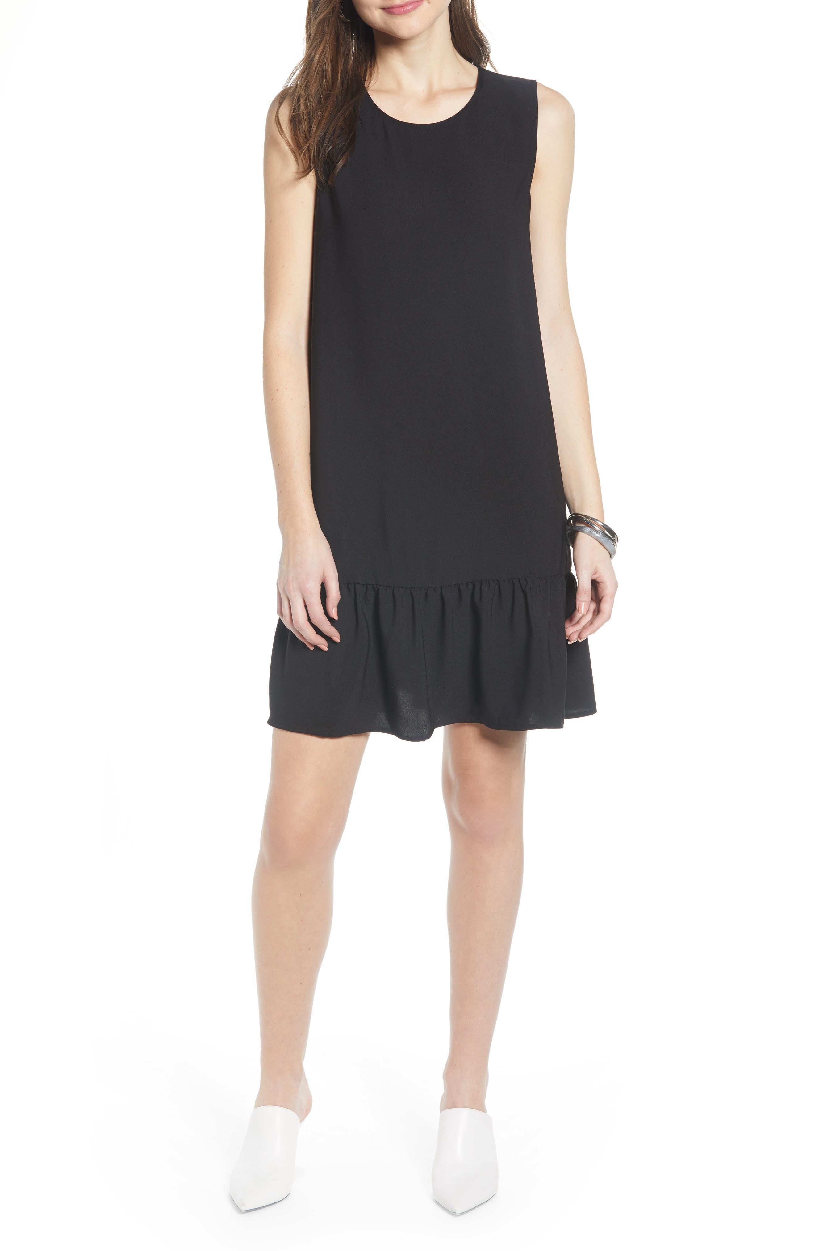 Halogen Ruffle Hem Shift Dress, Black