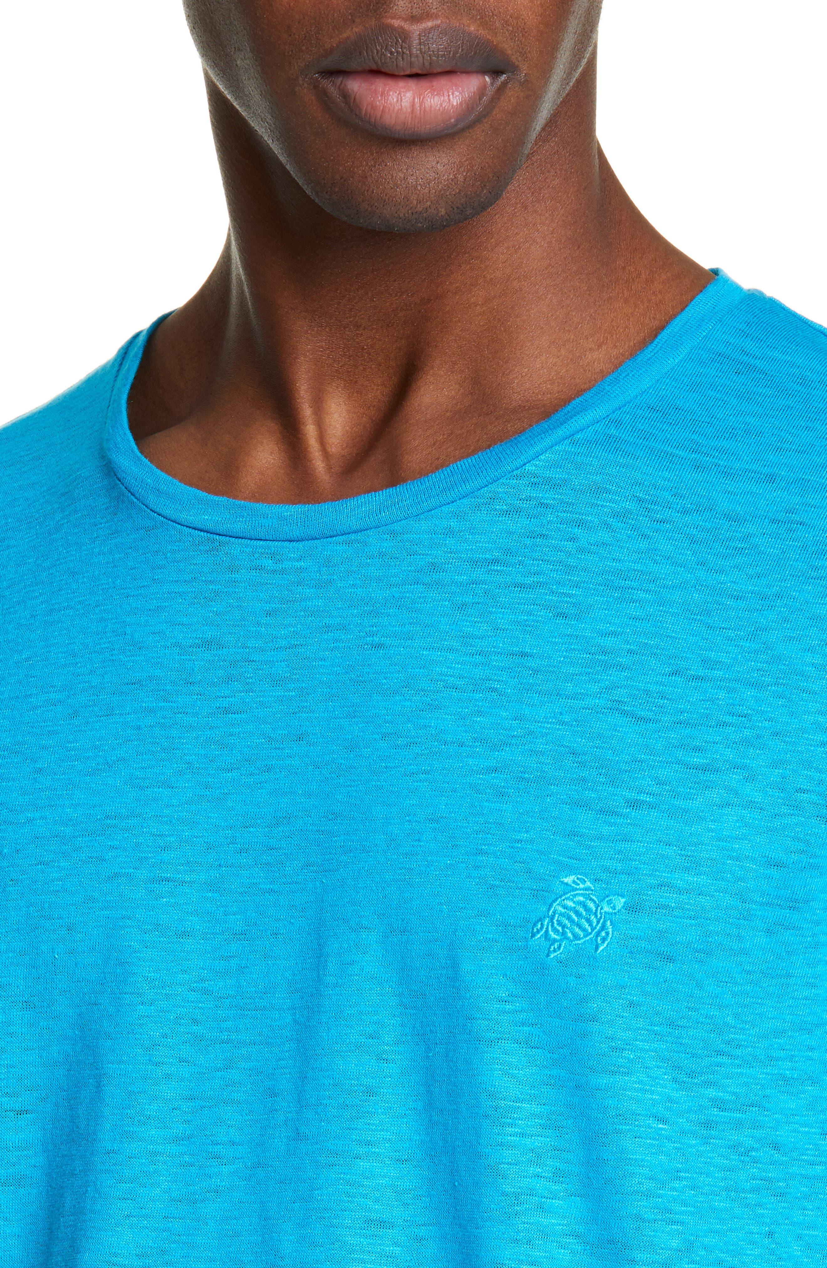 VILEBREQUIN, Linen Jersey T-Shirt, Alternate thumbnail 4, color, SEYCHELLES