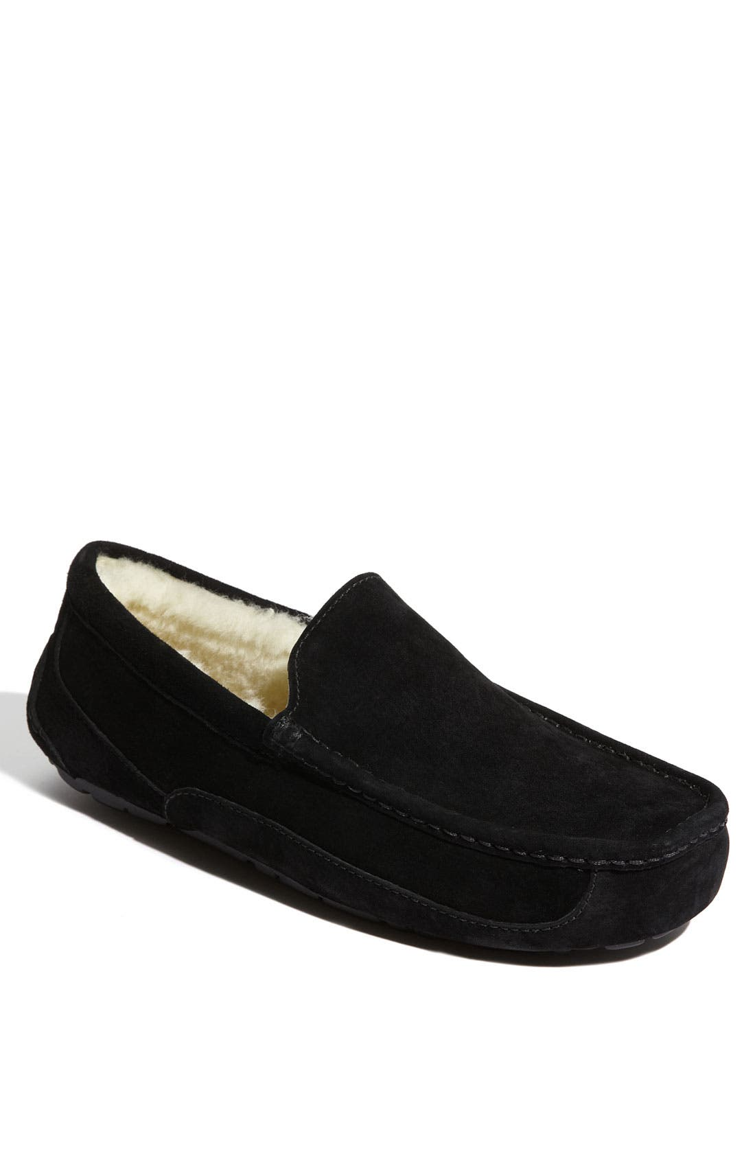 UGG<SUP>®</SUP>, Ascot Suede Slipper, Main thumbnail 1, color, BLACK SUEDE