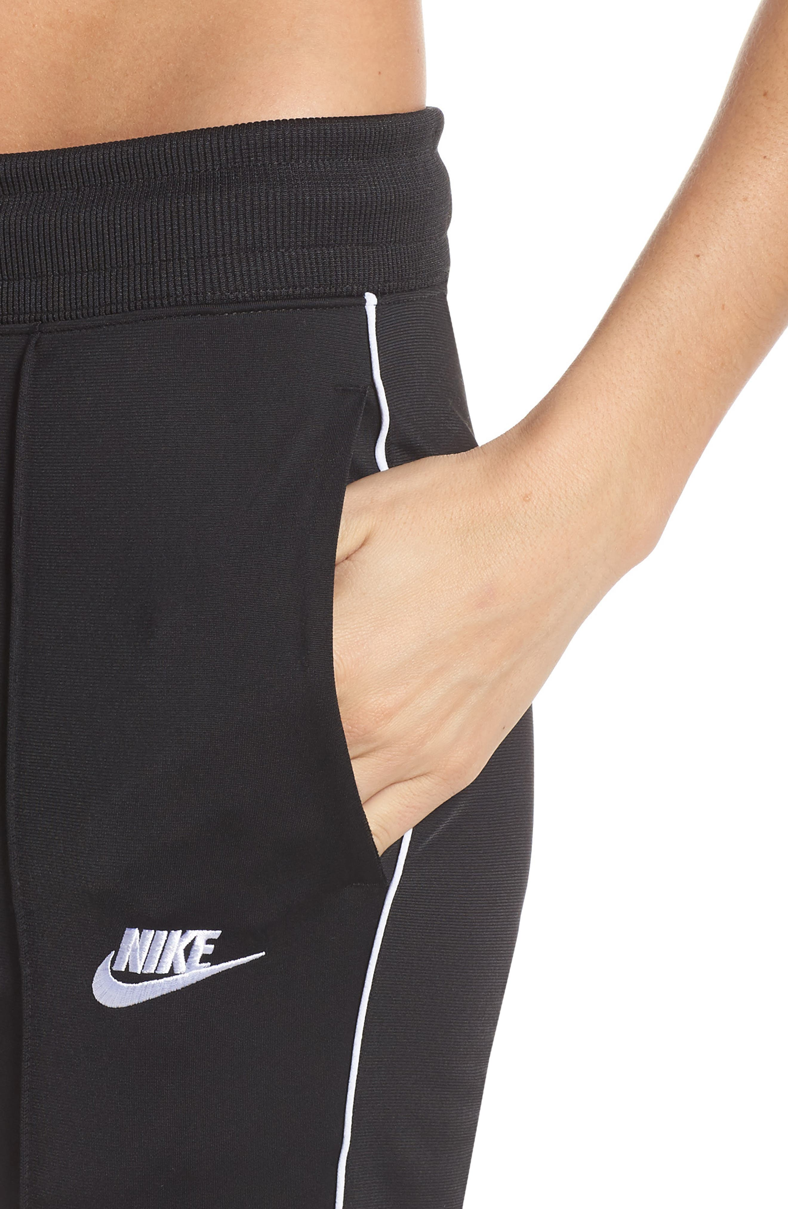 NIKE, NSW Slim Crop Pants, Alternate thumbnail 5, color, BLACK/ WHITE/ WHITE