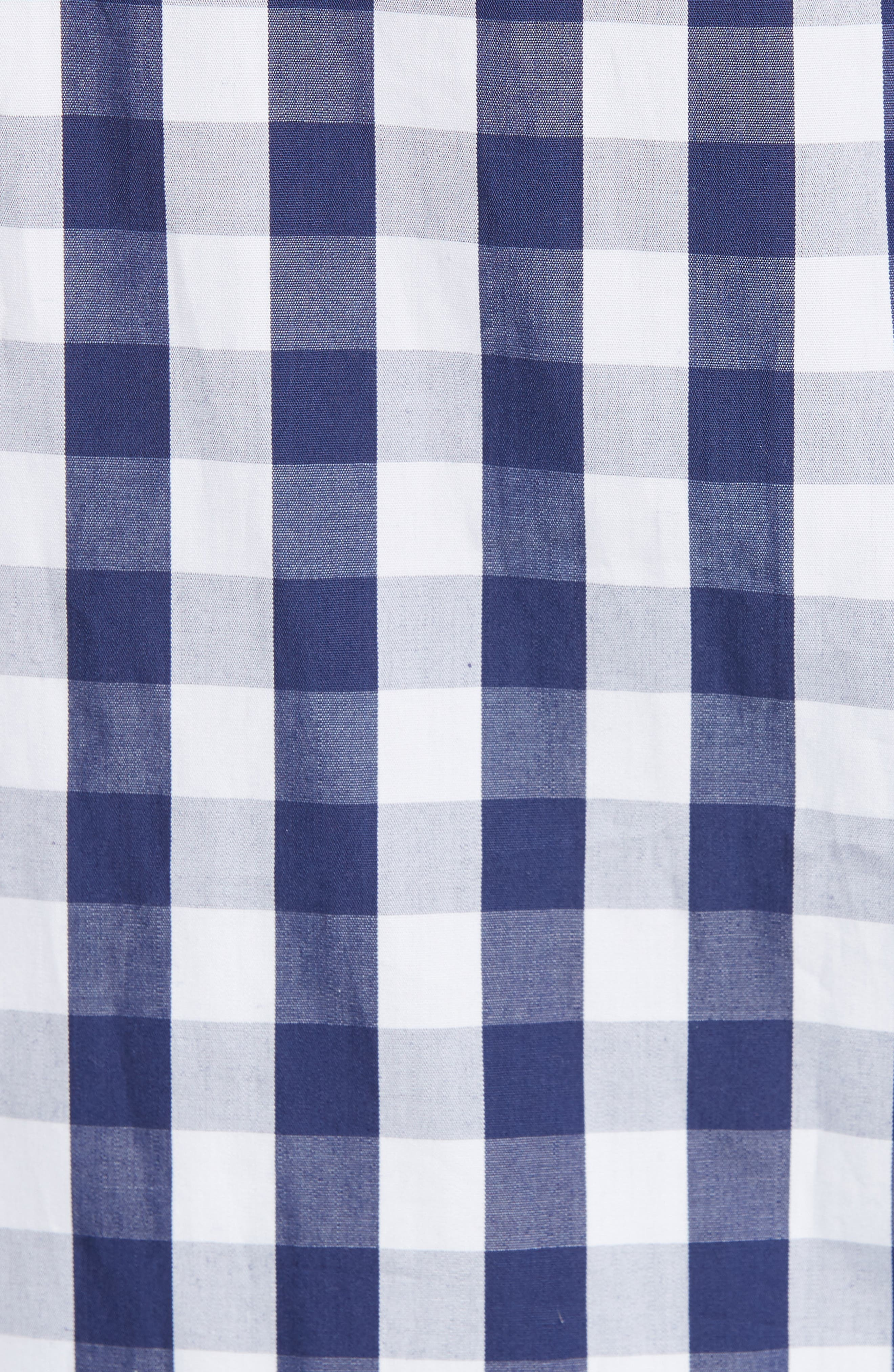 MILLY, Cindy One Shoulder Gingham Top, Alternate thumbnail 5, color, 410