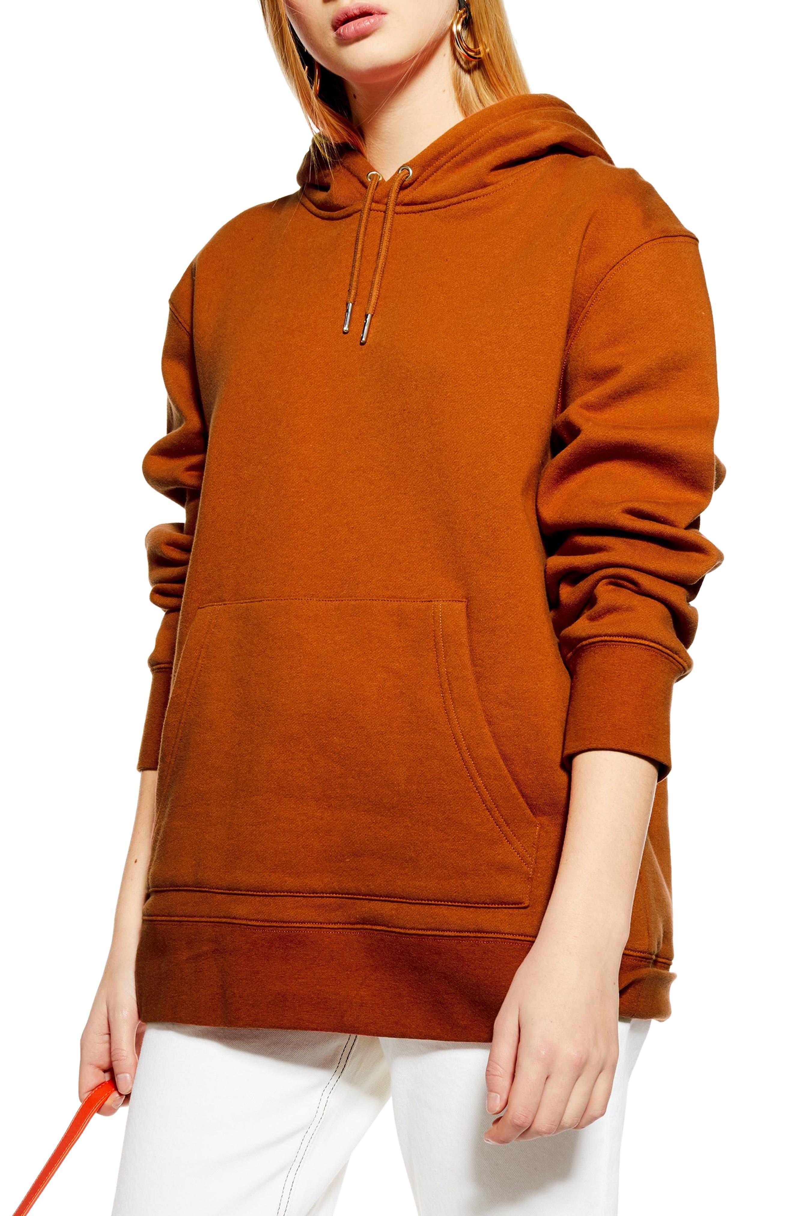 TOPSHOP, Relaxed Hooded Sweatshirt, Main thumbnail 1, color, RUST
